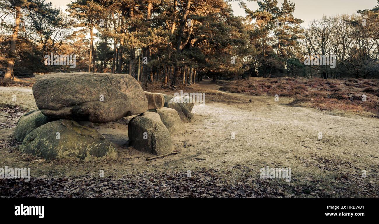 Dolmen a prehistoric hunnebed - Stock Image
