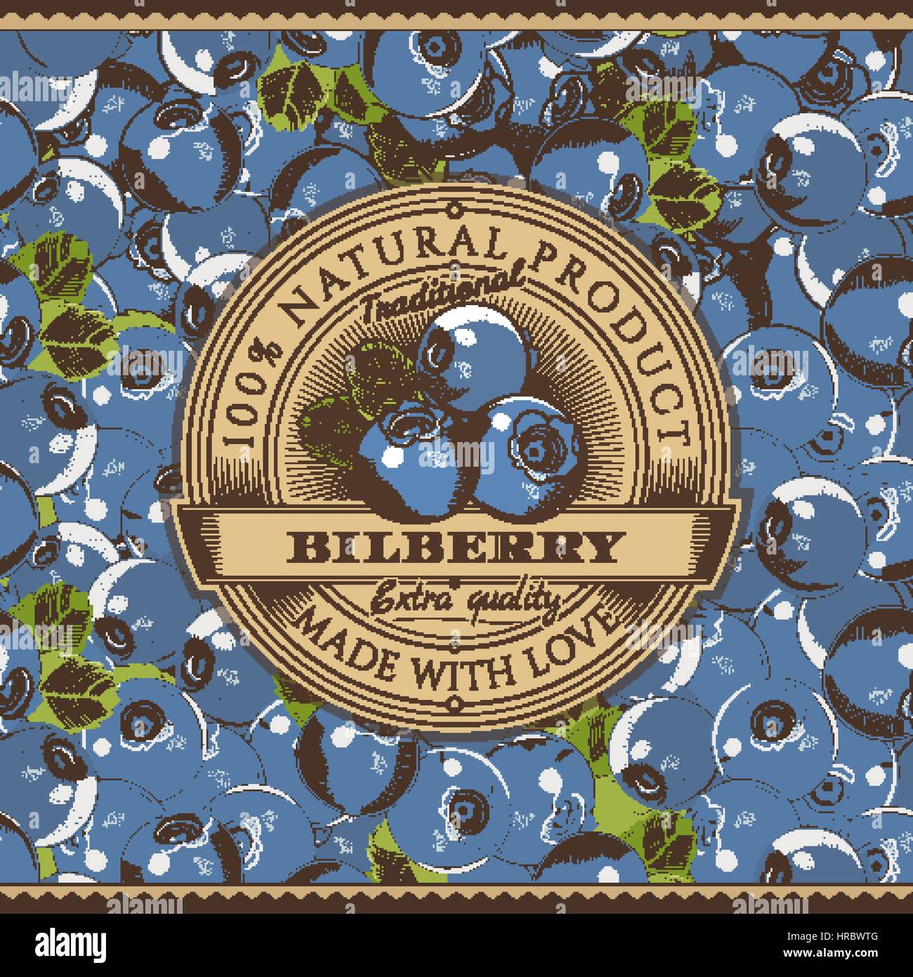 Vintage Bilberry Label On Seamless Pattern - Stock Vector