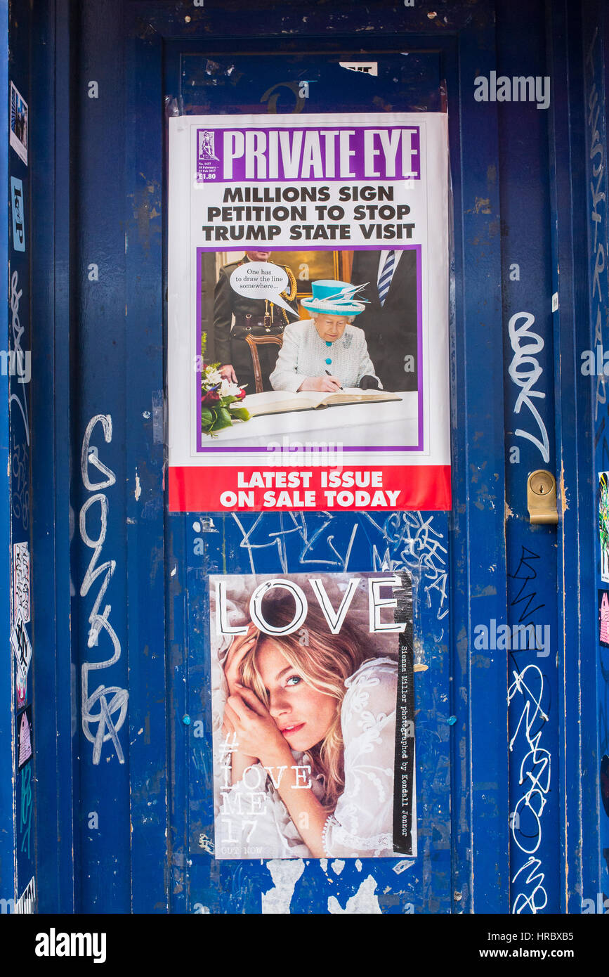 Private Eye front cover with petition to stop trump visit and the Queen signing. Love magazine cover below with - Stock Image