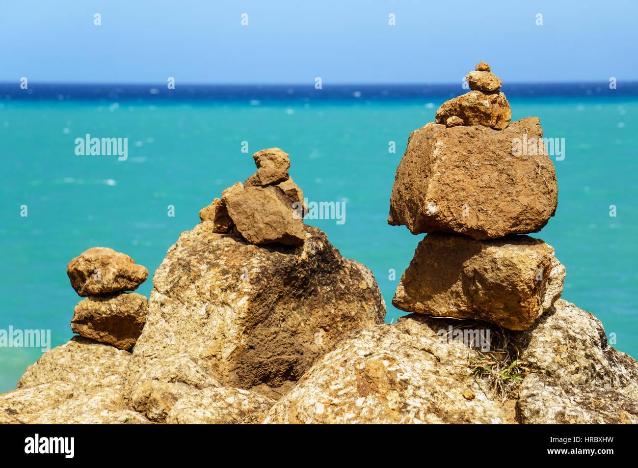 Buddhist stone pyramid near the shoreline of Andaman sea