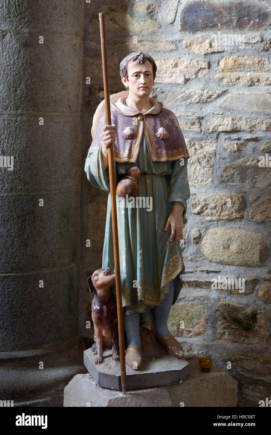 Statue of a pilgrim returning from the Way of St. James and apostle's shrine at Santiago de Compostela in Galicia, - Stock Image