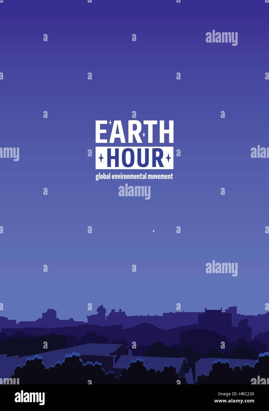 Earth Hour Movement Illustration. Vertical background with dark city view. Vector template for banner, card or poster. - Stock Vector