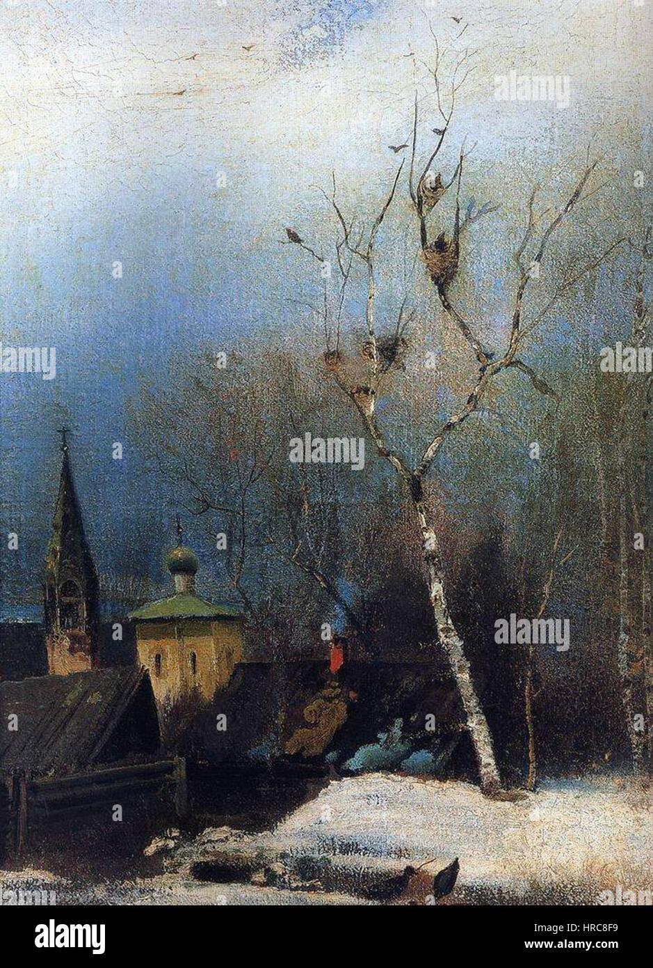 Savrasov.Vesna.1880-1890-s - Stock Image
