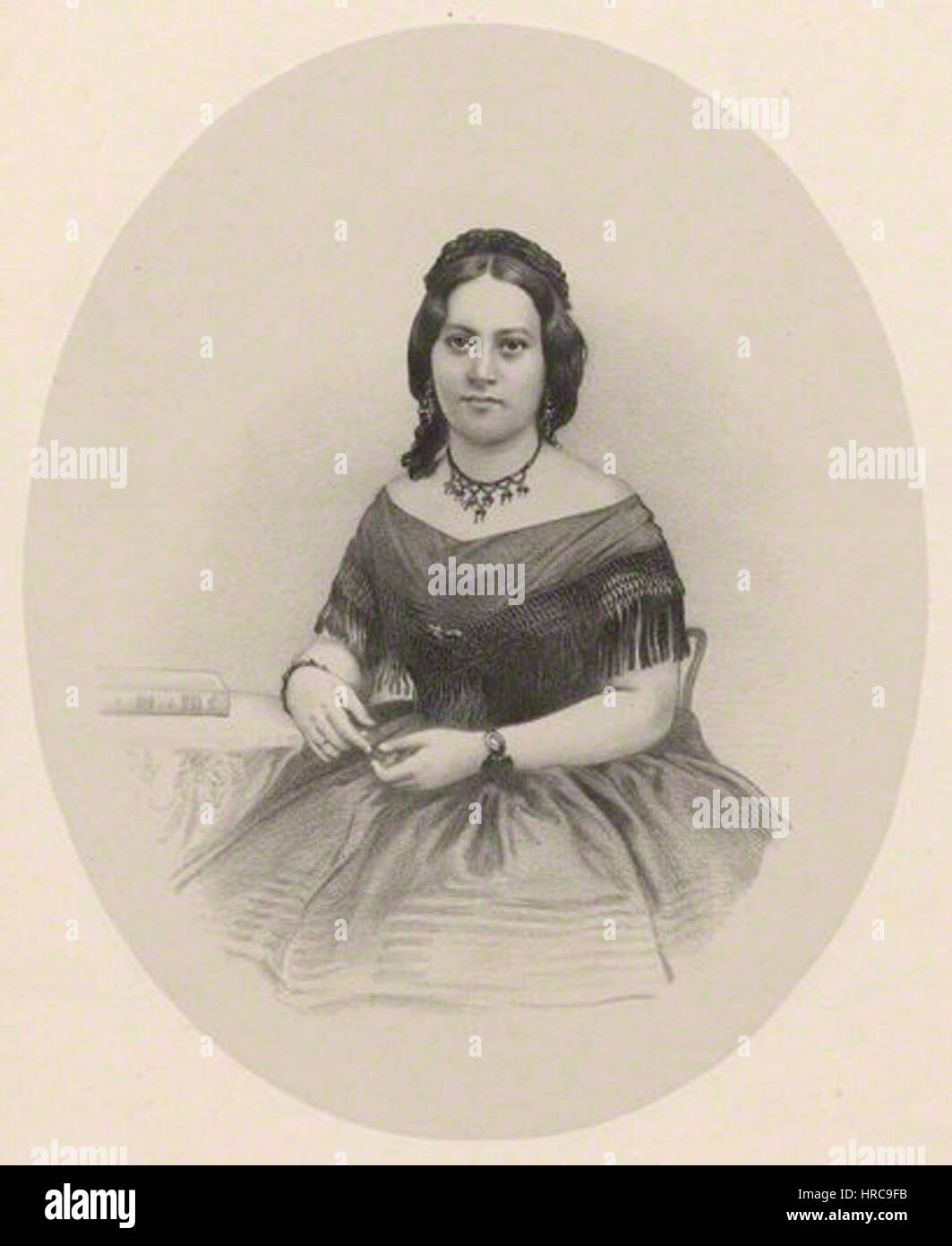 Queen Emma of Hawaii by Richard James Lane, lithograph, circa 1825-1850 - Stock Image