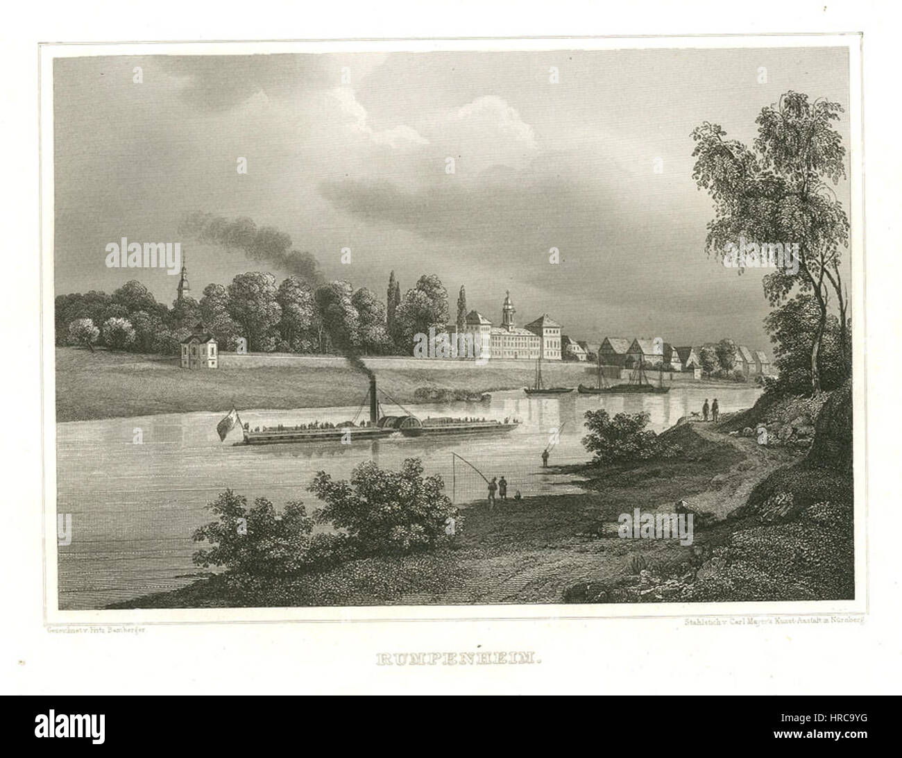 Rumpenheim Stahlstich 1847 - Stock Image
