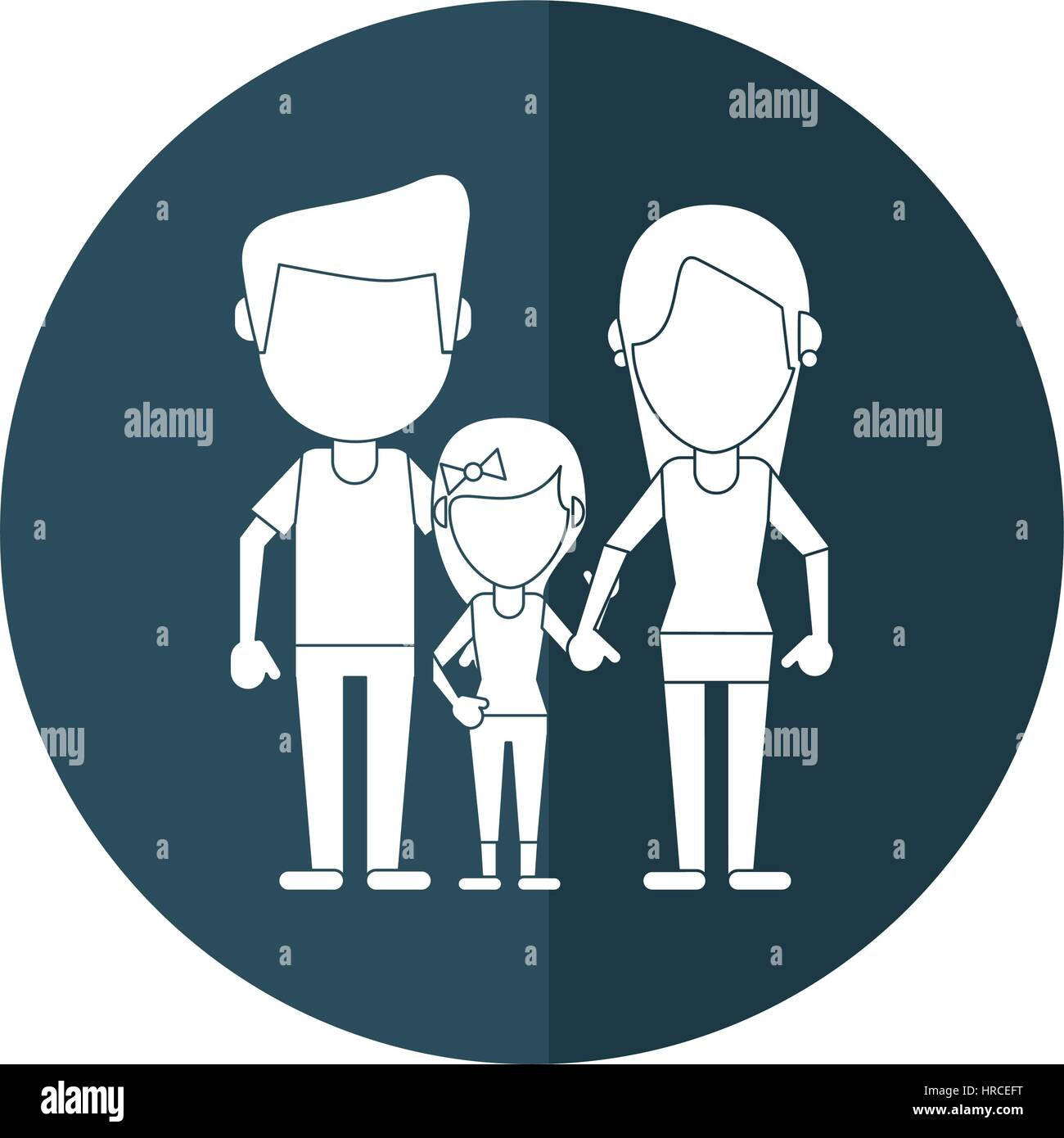 parents with daugther family shadow - Stock Vector