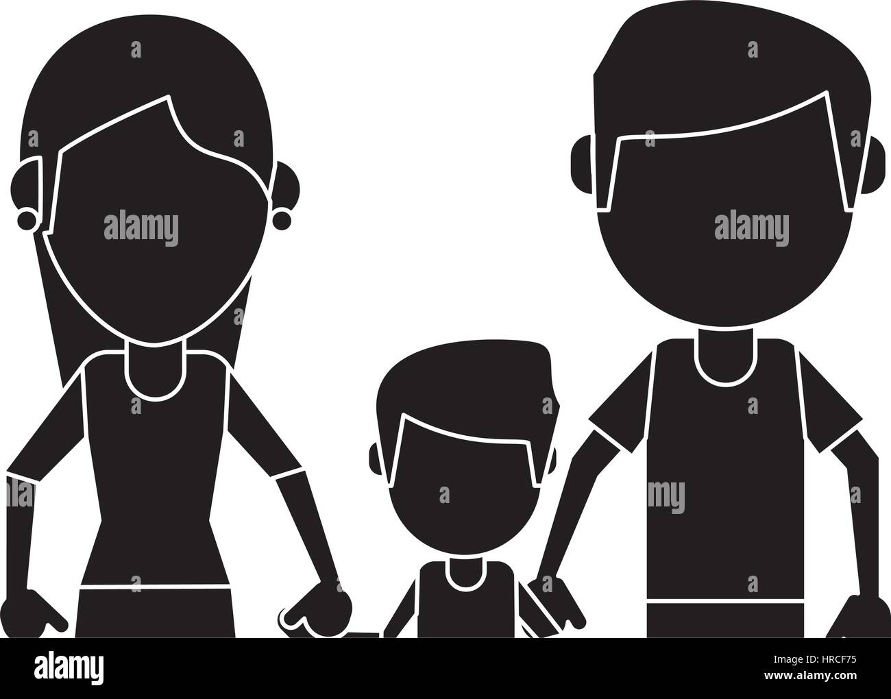father mother and son hing hands pictogram - Stock Vector