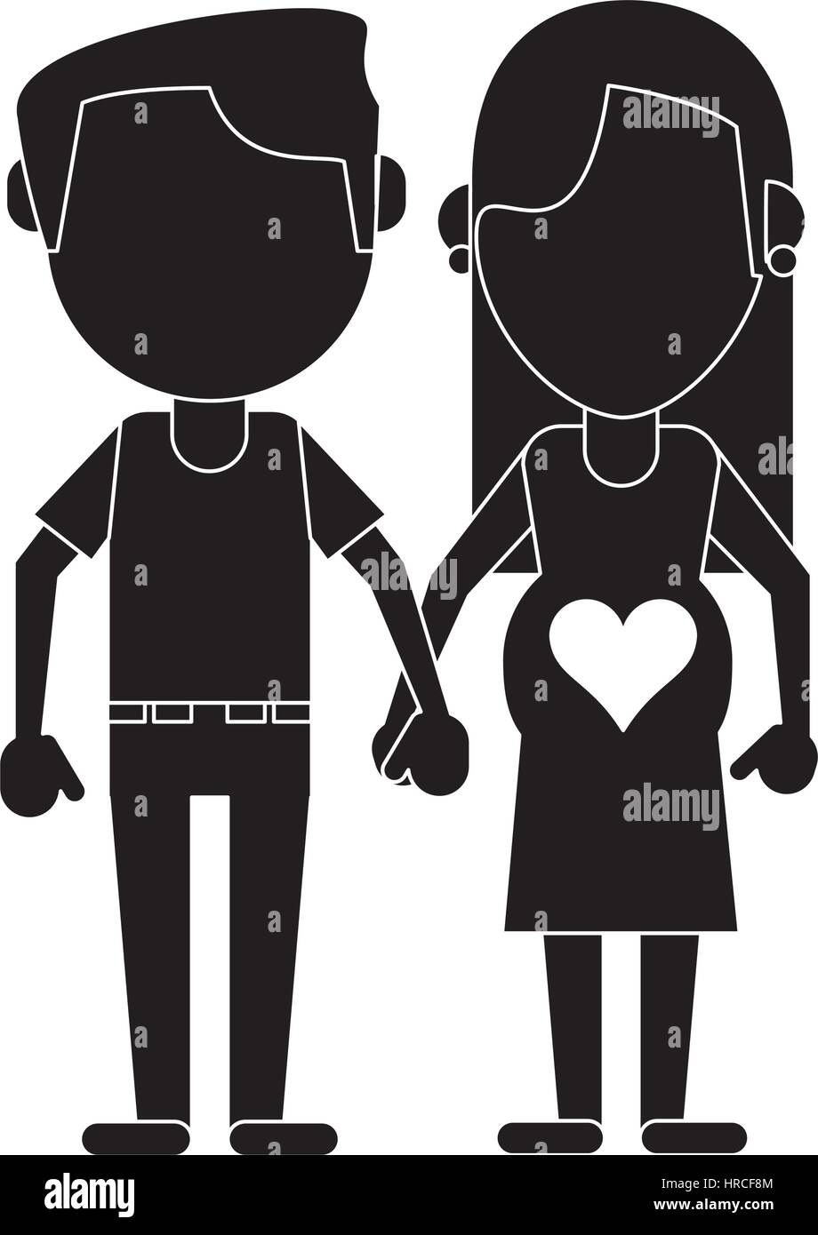 pregnant couple hing hands pictogram - Stock Vector
