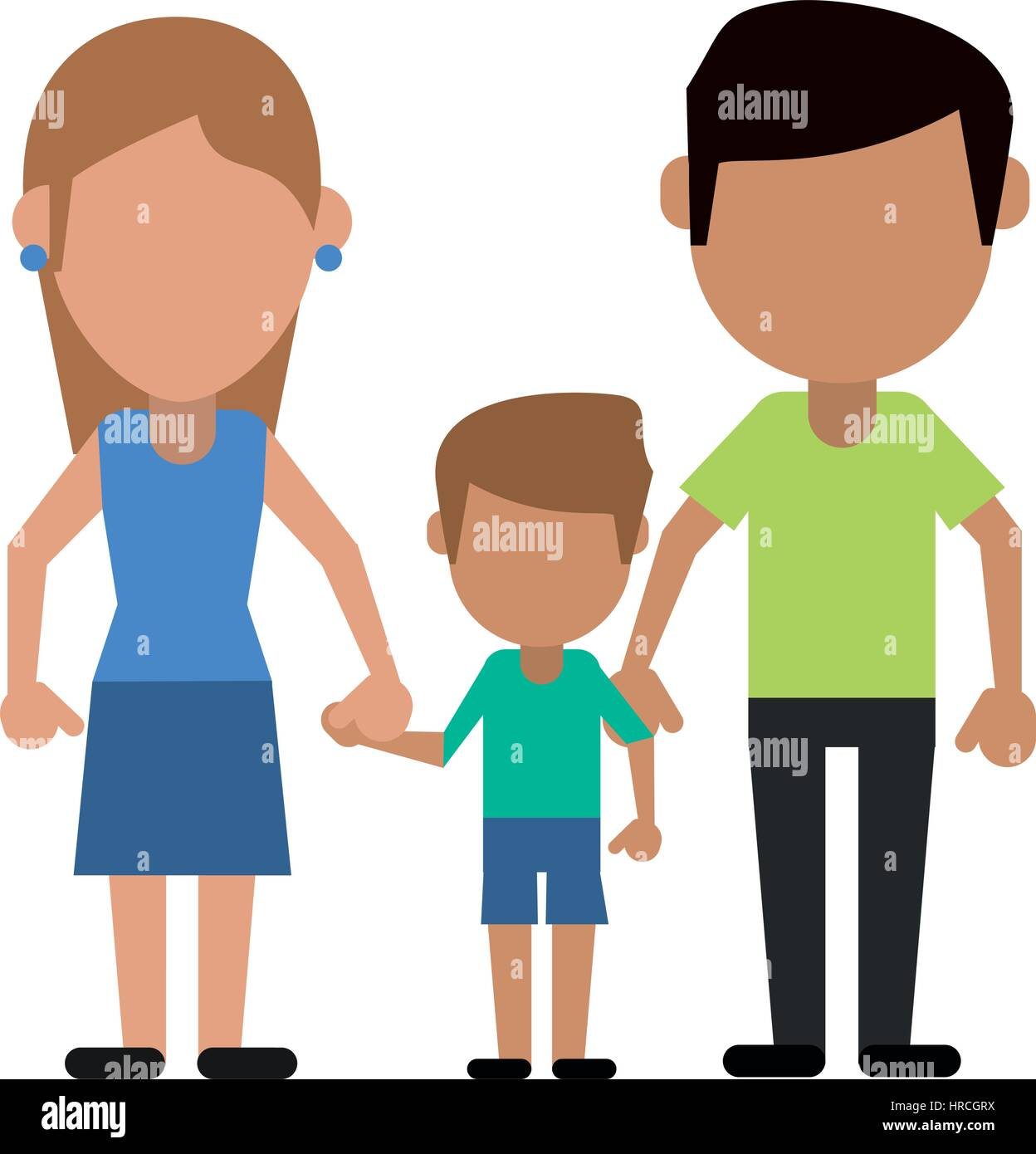 father mother and son hing hands - Stock Vector