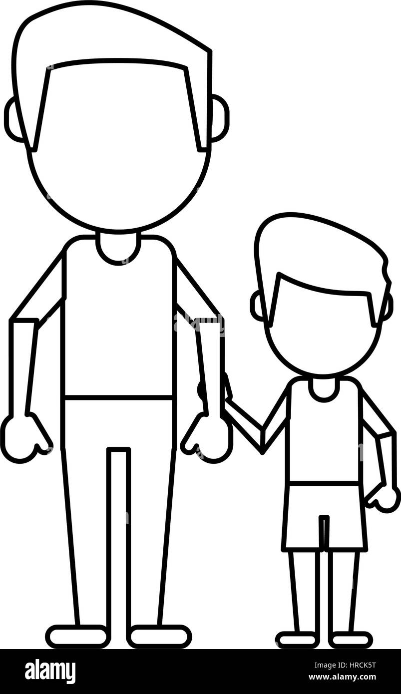father and son holding hands thin line - Stock Image