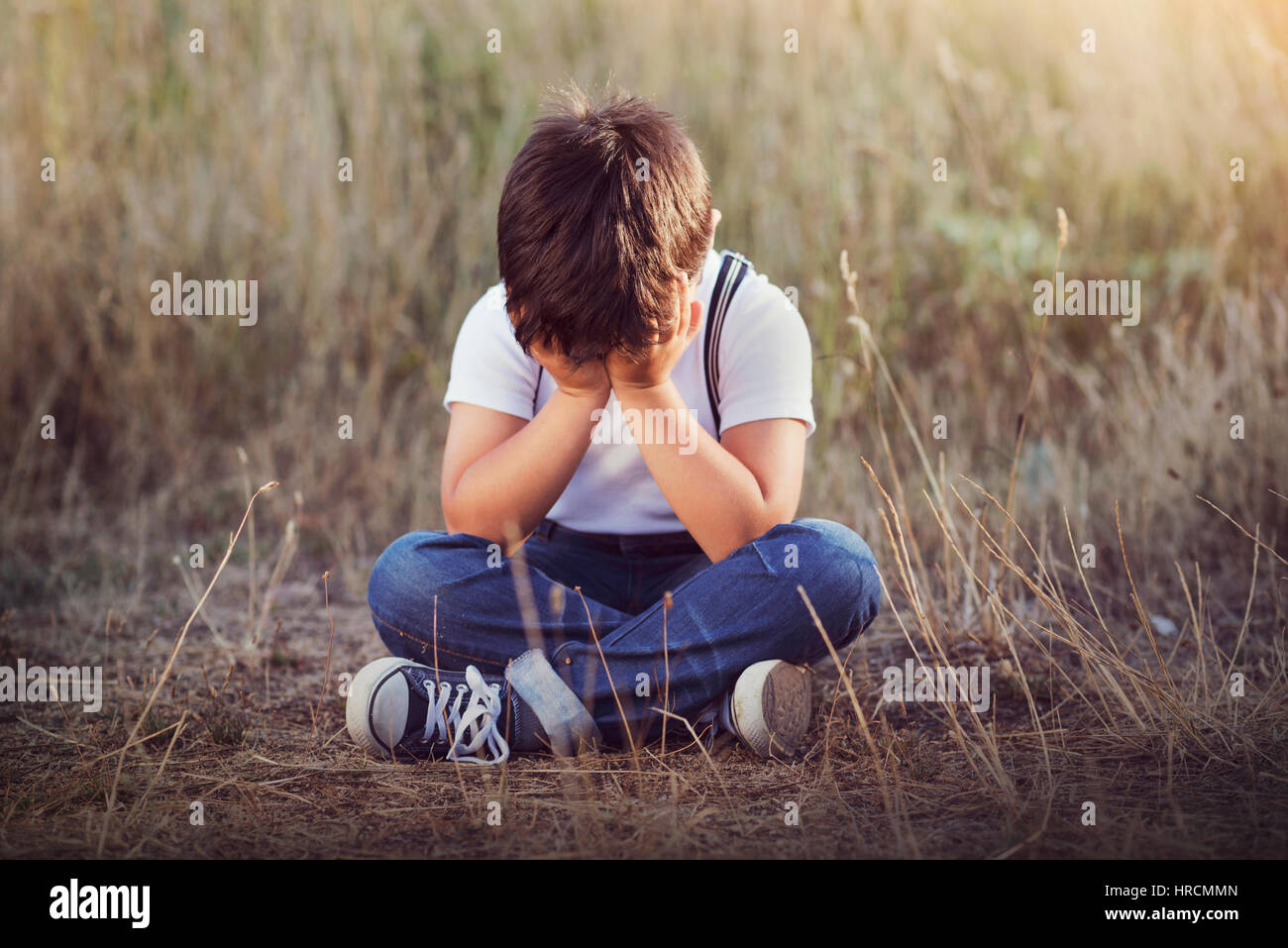 crying boy - Stock Image