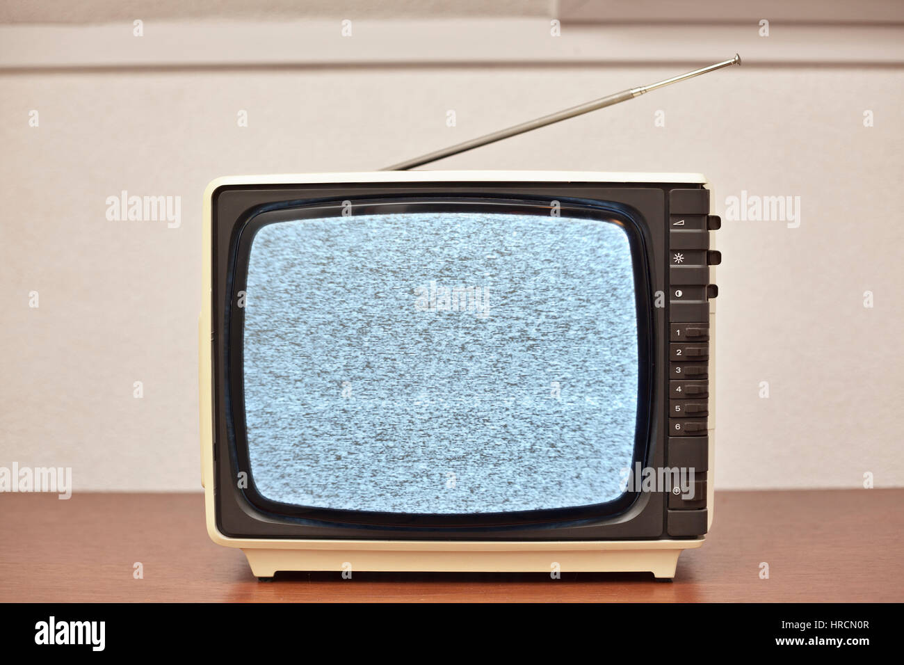 Small retro Black and white Television with no signal. - Stock Image