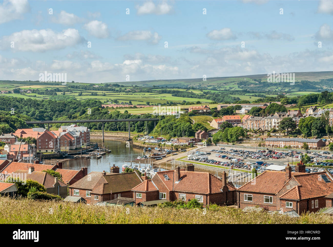 Elevated view over the River Esk and the landscape near Whitby, England, UK. Whitby is a town and civil parish in - Stock Image