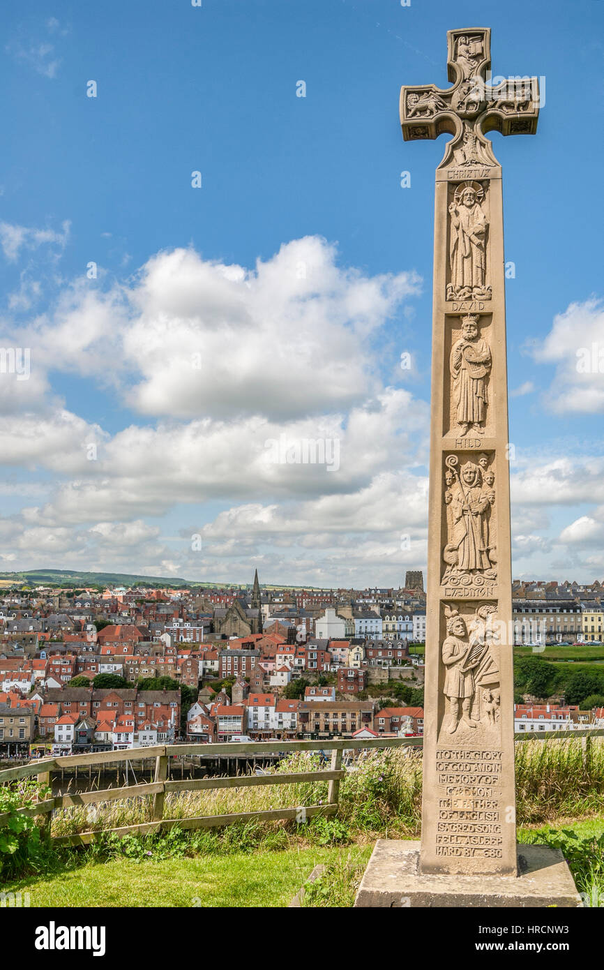 Celtic Cross at the Graveyard of Whitby Abbey, North Yorkshire, England. - Stock Image