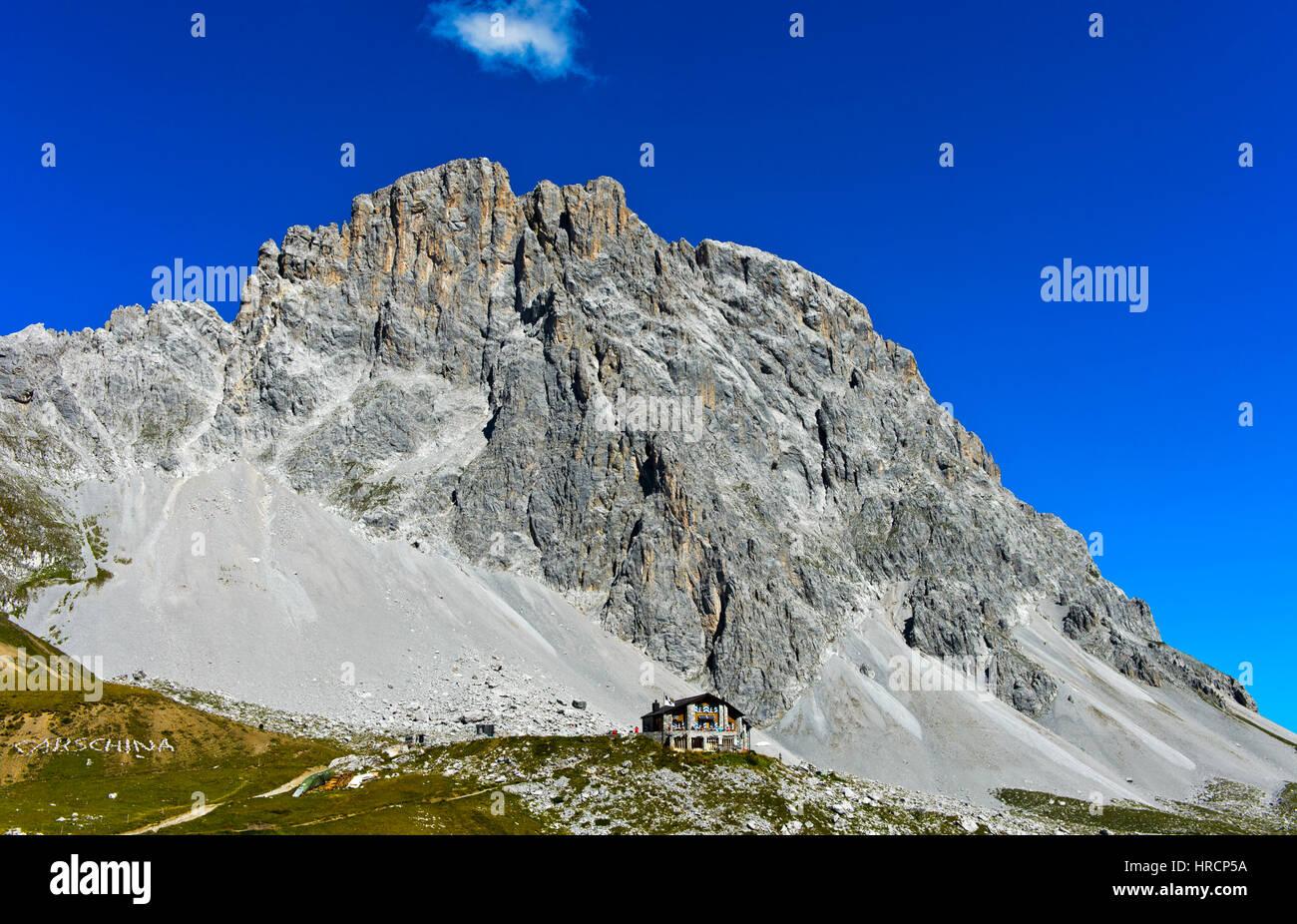 Mountain hut Carschinahütte,south face of the Sulzfluh peak, St. Antönien, Prättigau, Graubünden, - Stock Image