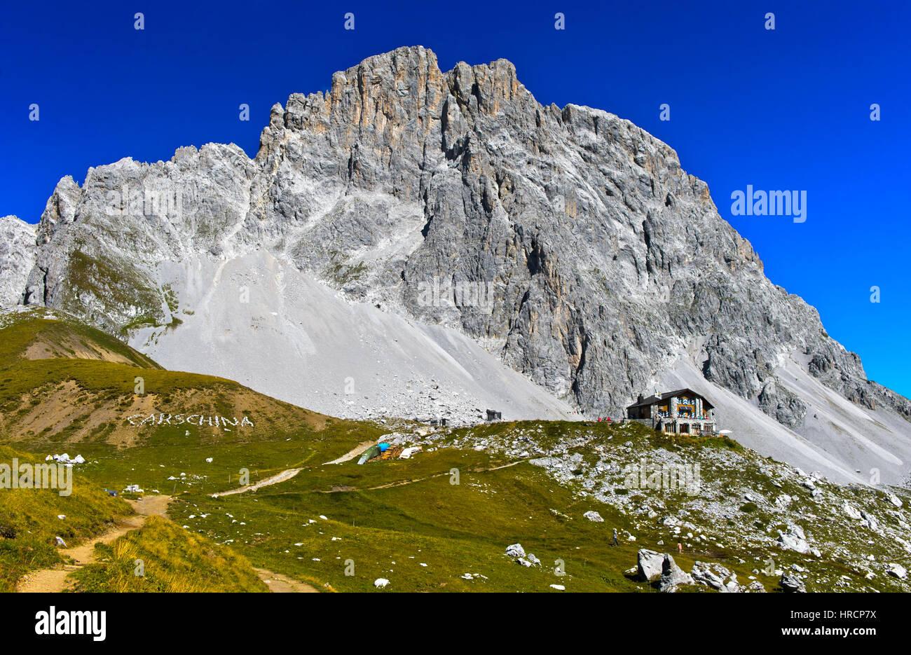 Mountain hut Carschinahütte, south face of the Sulzfluh peak, St. Antönien, Prättigau, Graubünden, - Stock Image