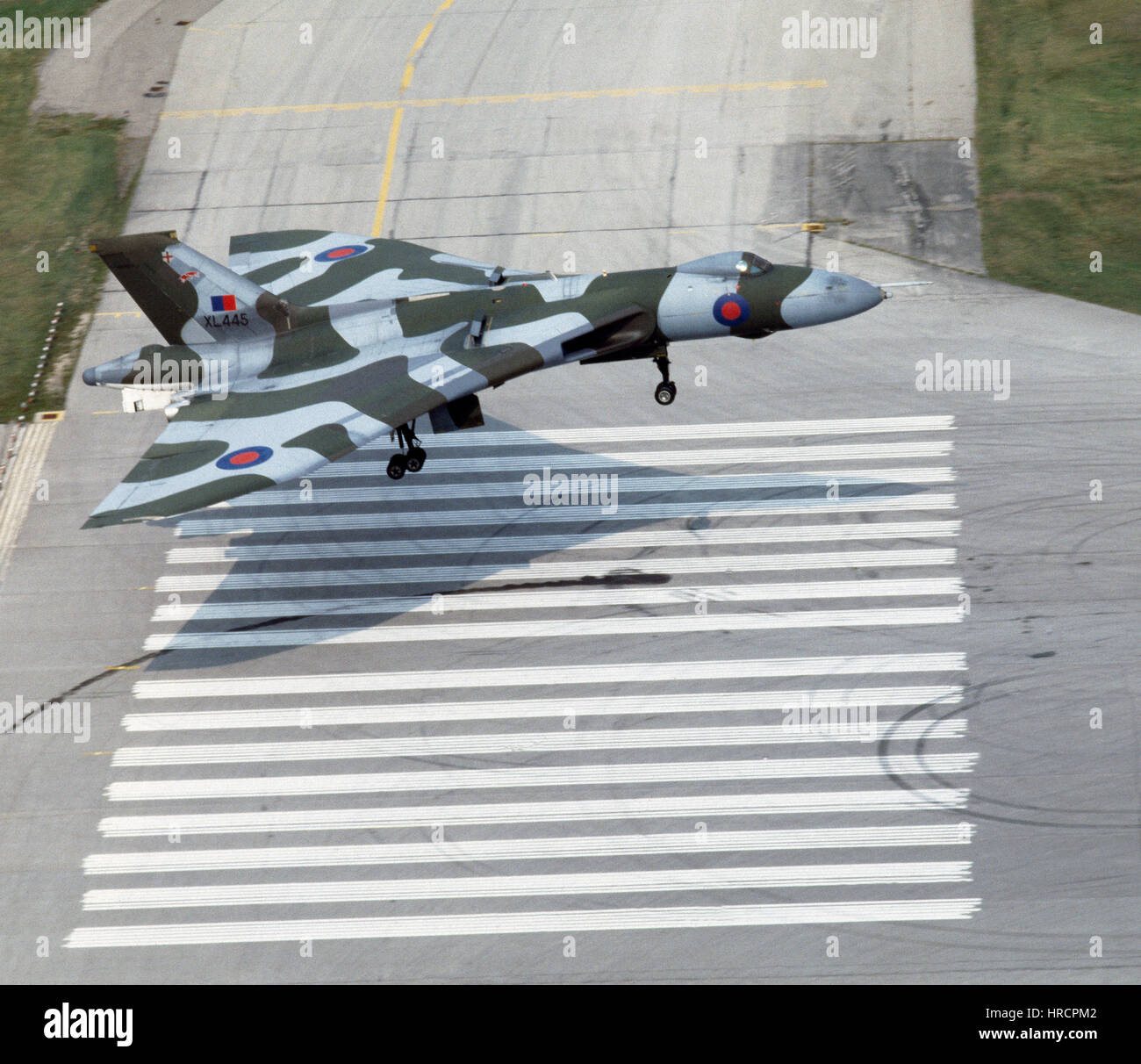 Avro Vulcan B2 bomber about to land. - Stock Image