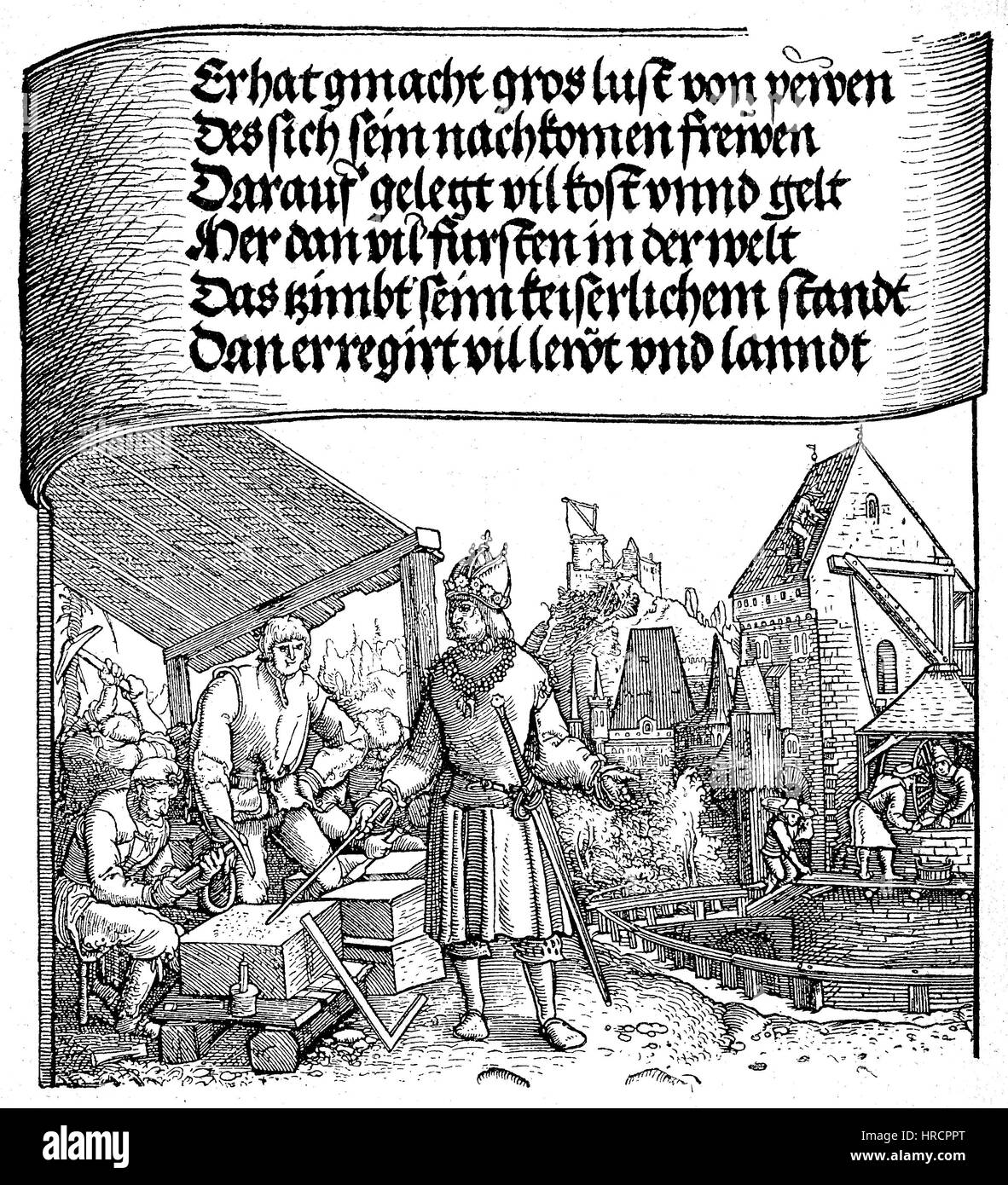 Emperor Maximilian I among his builders the stonemasons, Stone sculpturers, facsimile of a woodcut according to - Stock Image