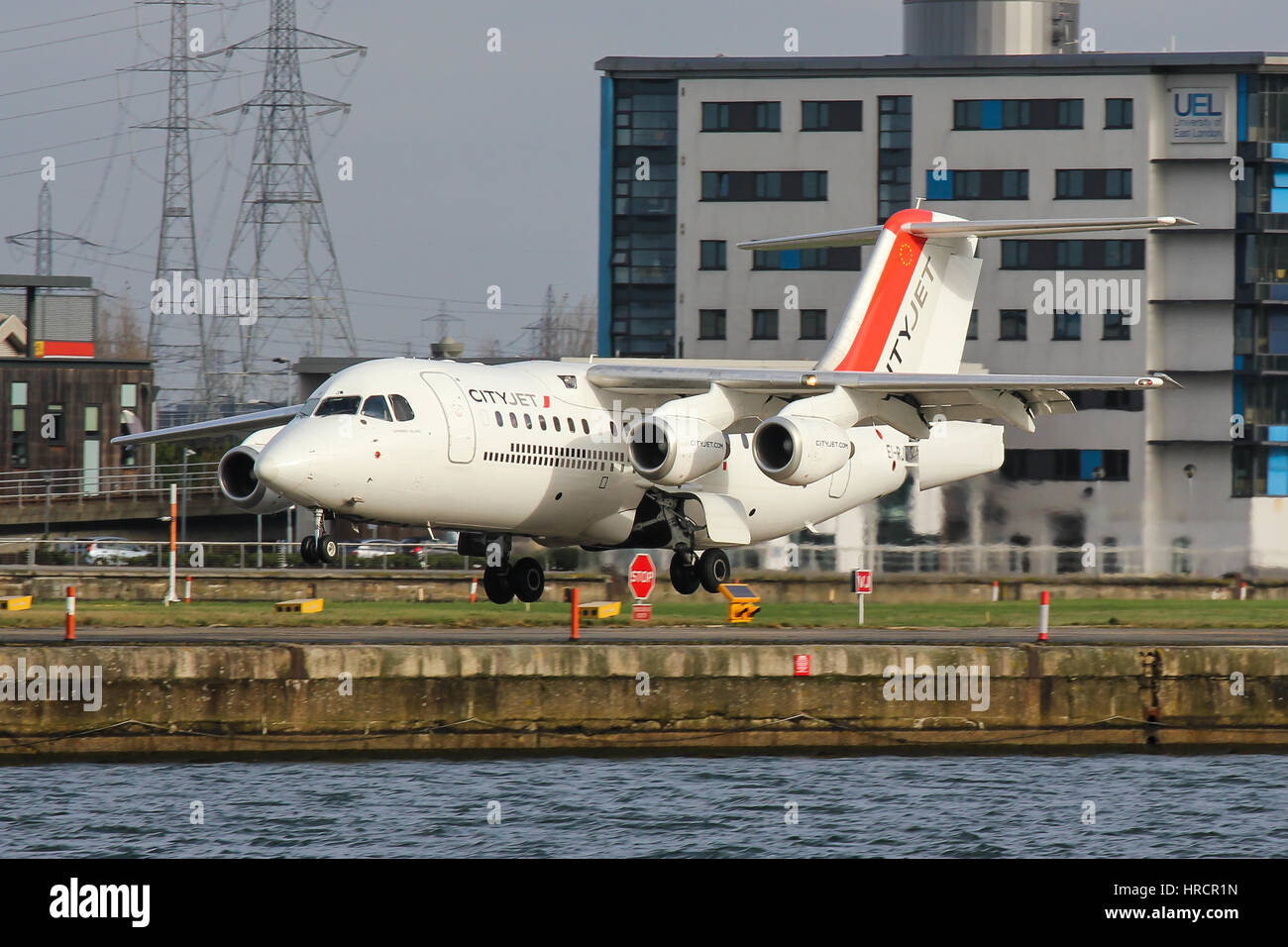 CityJet BAe-146 landing at London City Airport - Stock Image