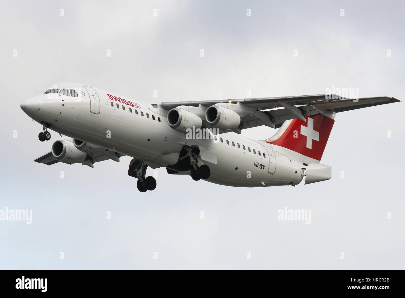 Swiss Airlines Avro RJ100 at London City Airport - Stock Image