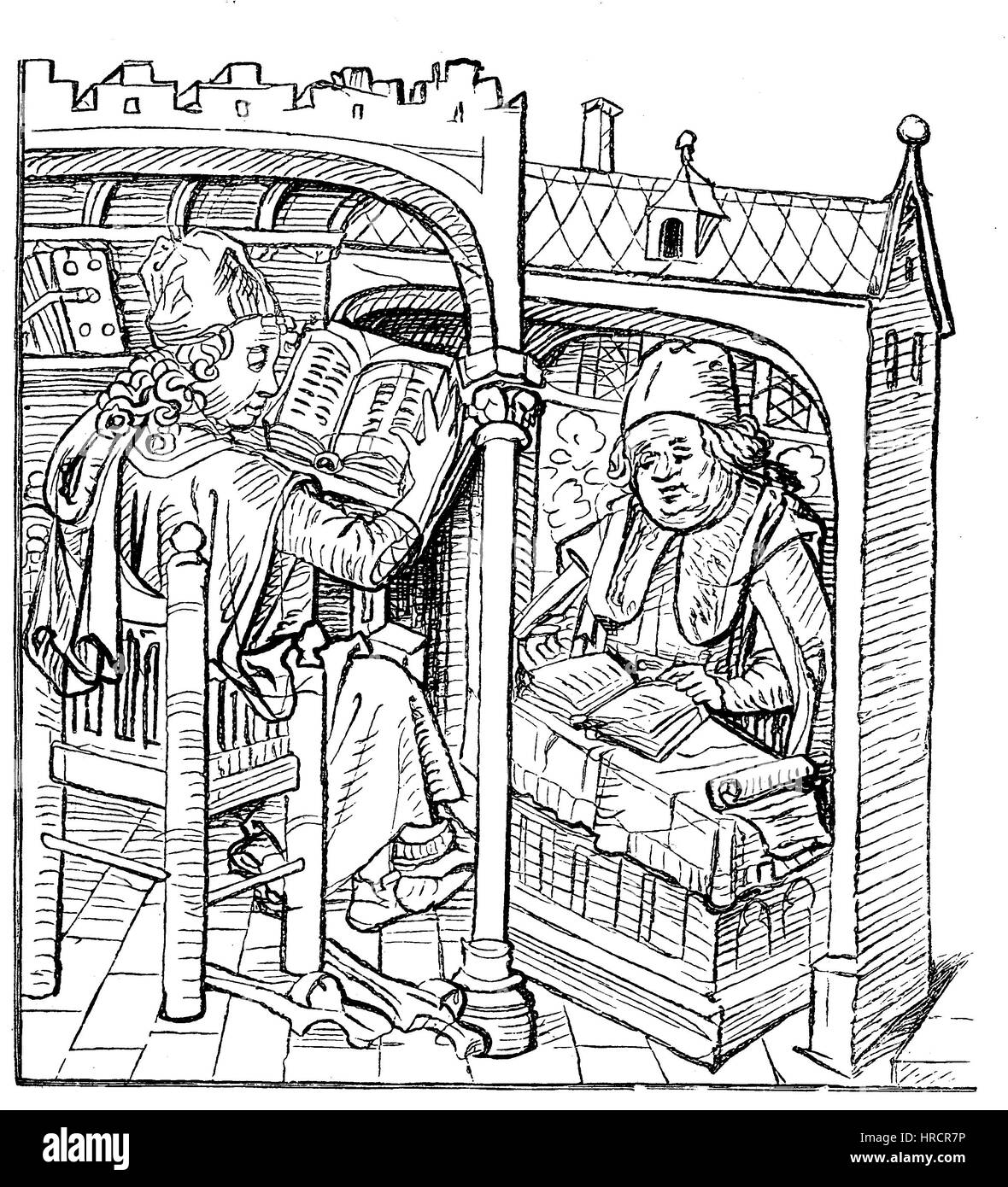 Scholars study at reading desks, from the medieval Hausbuch from the 15th century, Germany. The medieval Hausbuch - Stock Image