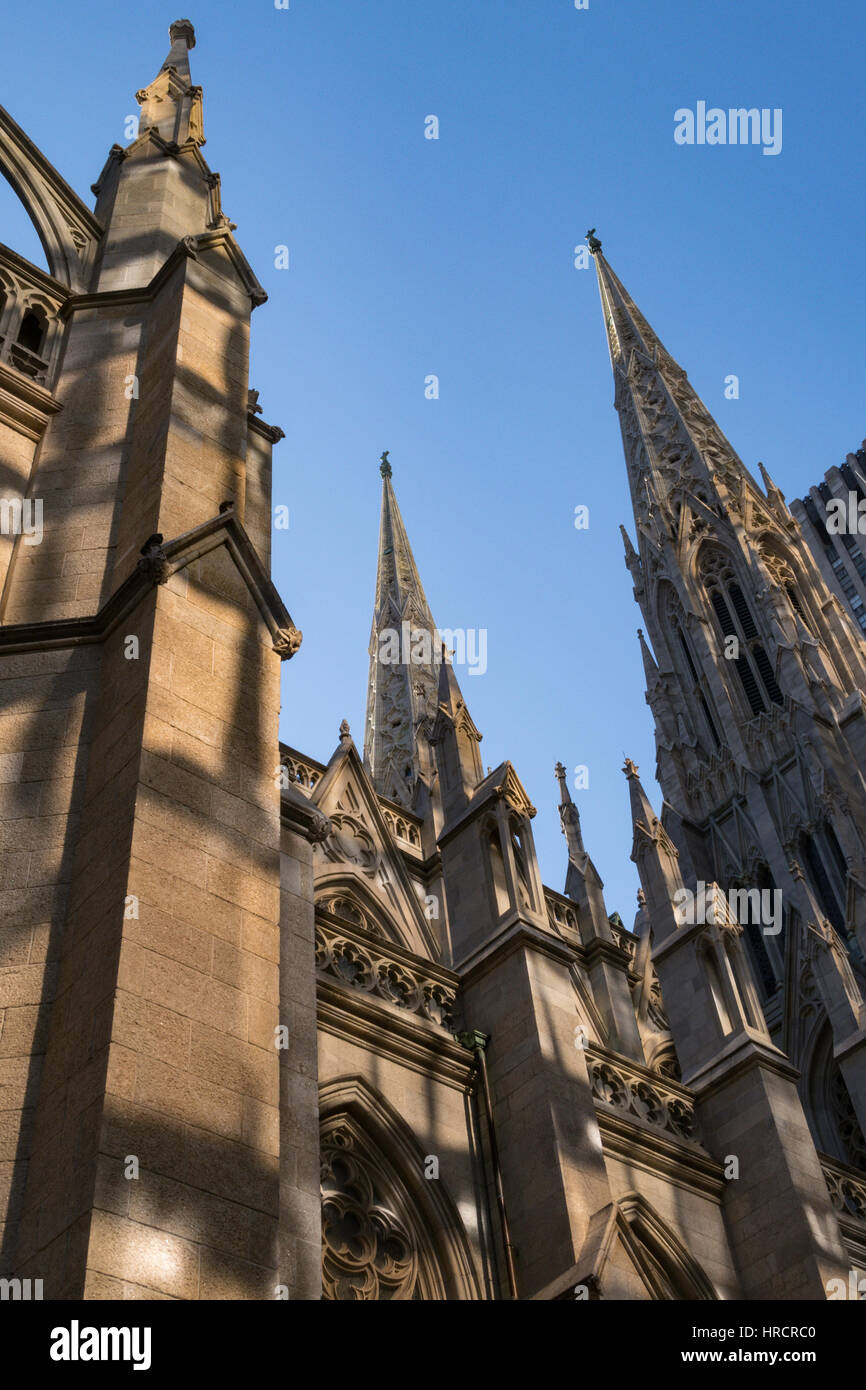St Patrick's Cathedral, NYC, USA - Stock Image
