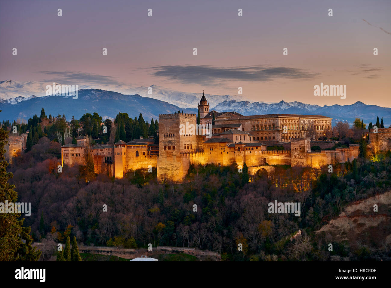 Alhambra of Granada and Sierra Nevada, Granada, Andalusia, Spain, Europe - Stock Image