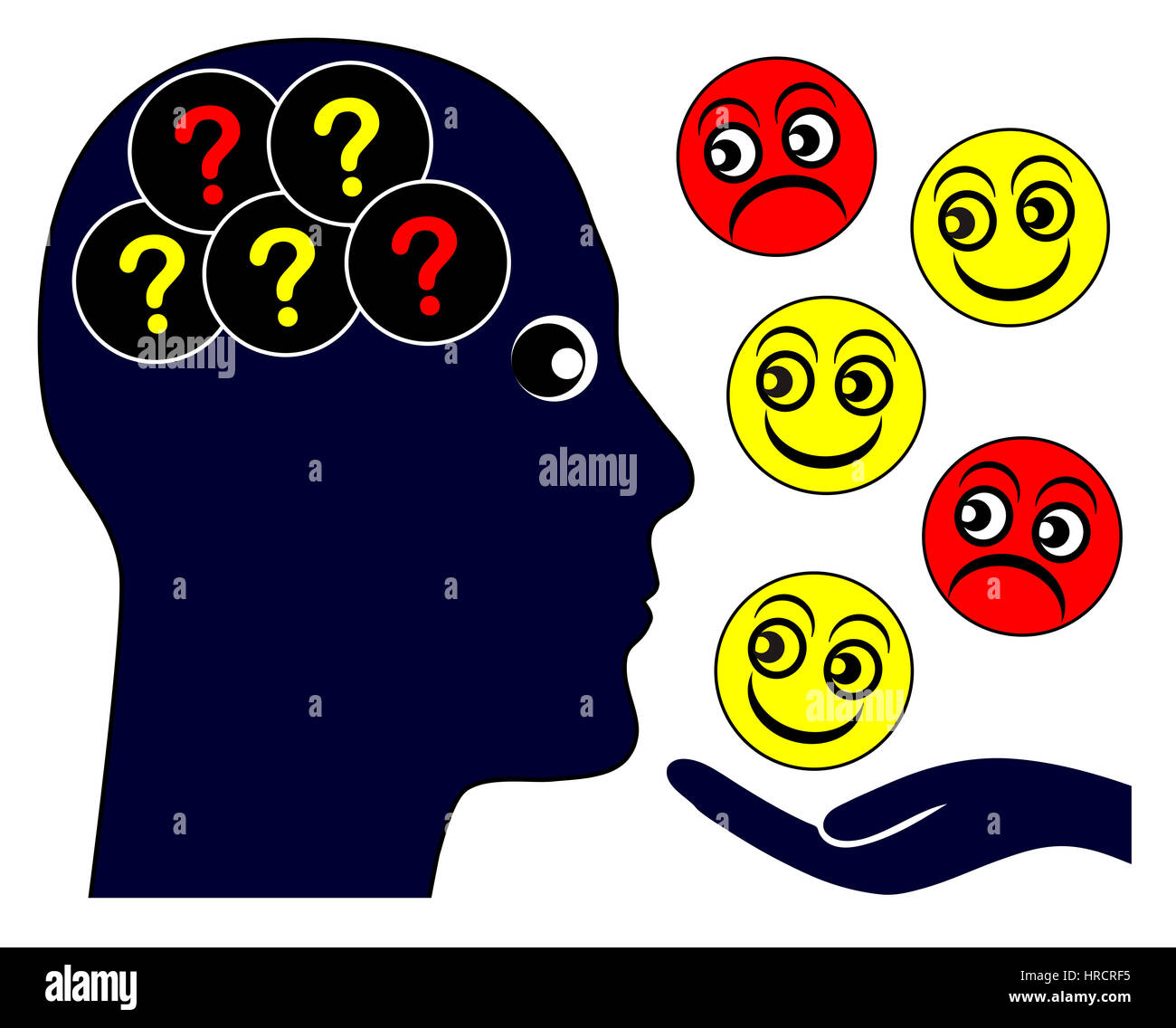 Autistic person with problems to read emotional feelings and empathy - Stock Image