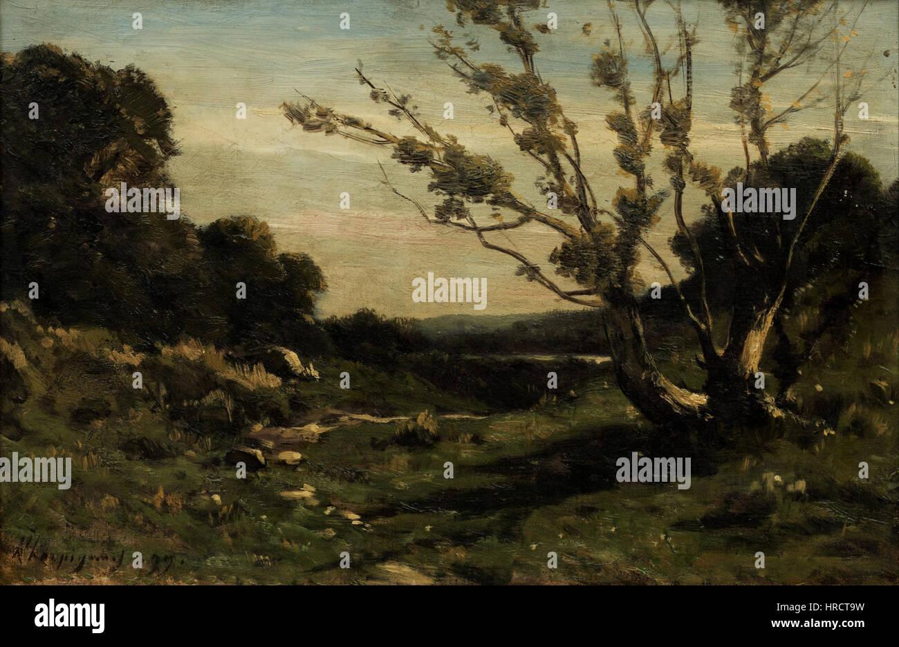 Henri Harpignies - Morning in the Nievre - Google Art Project - Stock Image
