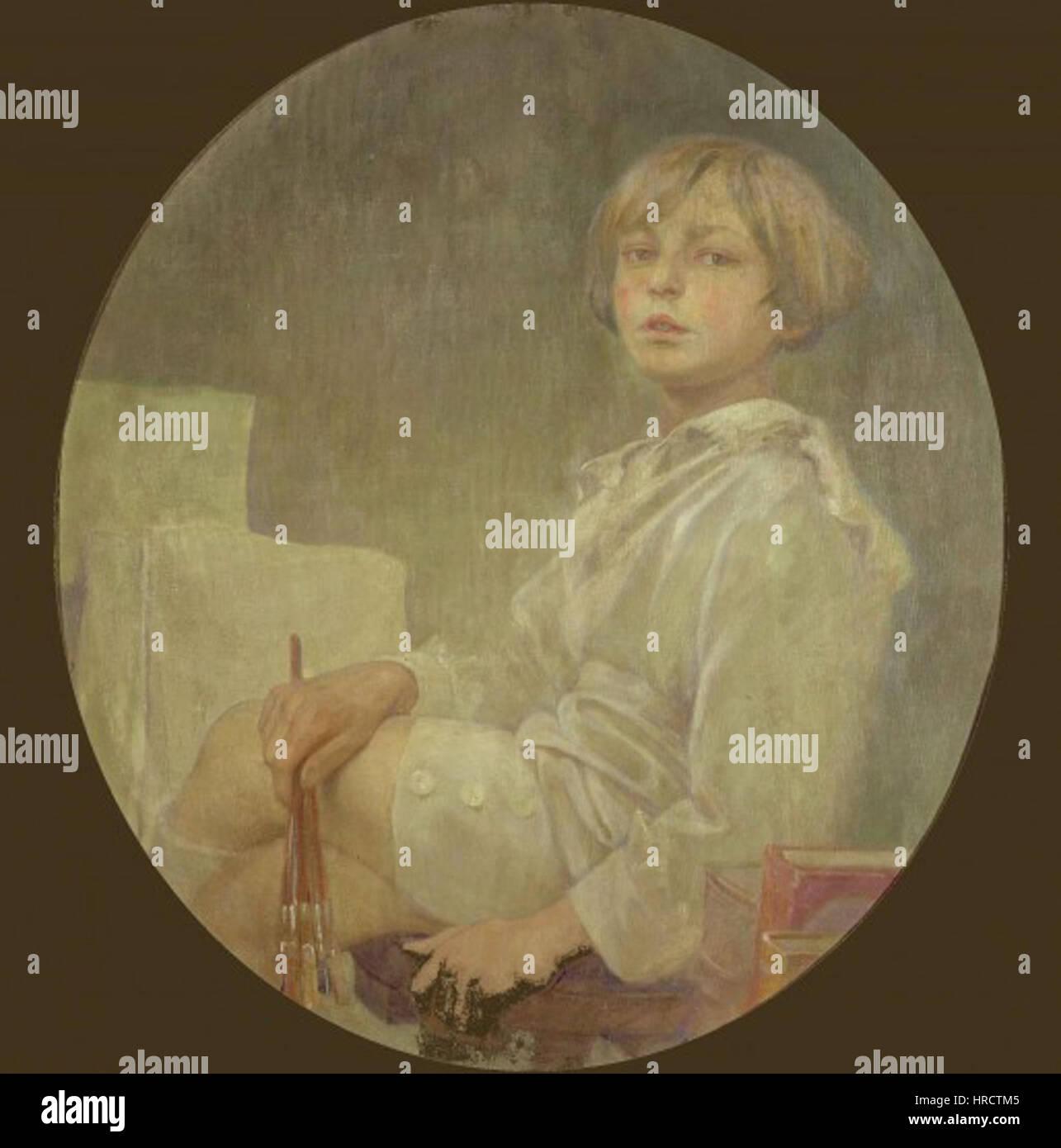 Portrait of Jiri - Alfons Mucha - Stock Image