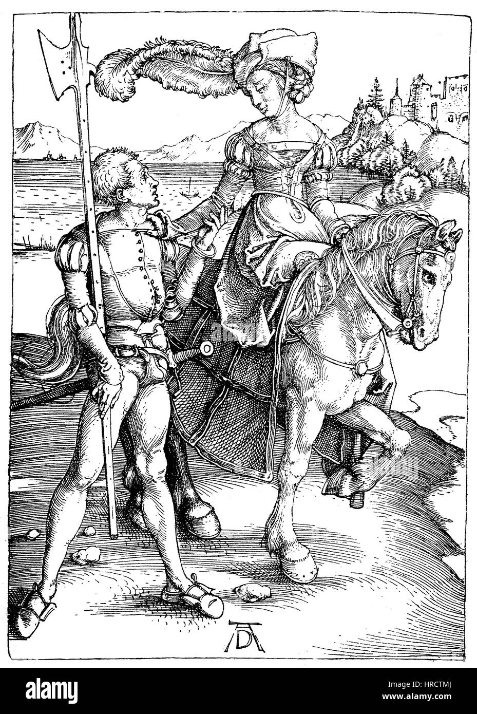 A noble lady on a horse, accompanied by an armed servant, facsimile of the copper engraving by Albrecht Duerer, - Stock Image