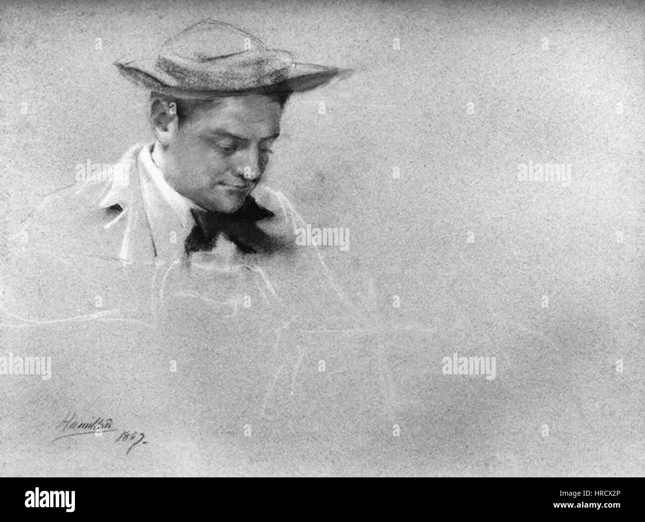 Sir Alfred Gilbert by John McLure Hamilton chalk 1887 - Stock Image