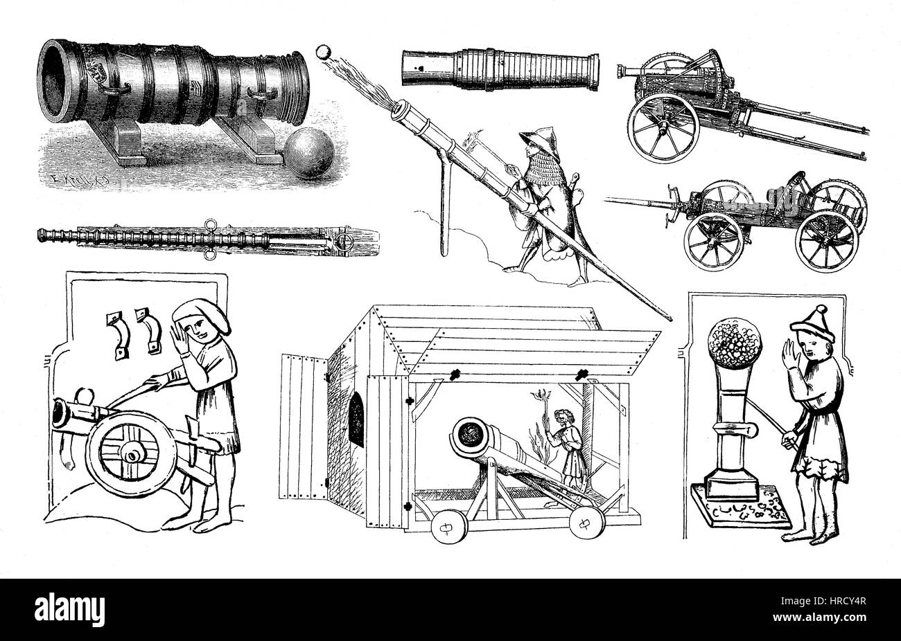 Illustrations of various arms types of the oldest artillery, Germany, cannon, weapon, reproduction of an woodcut - Stock Image