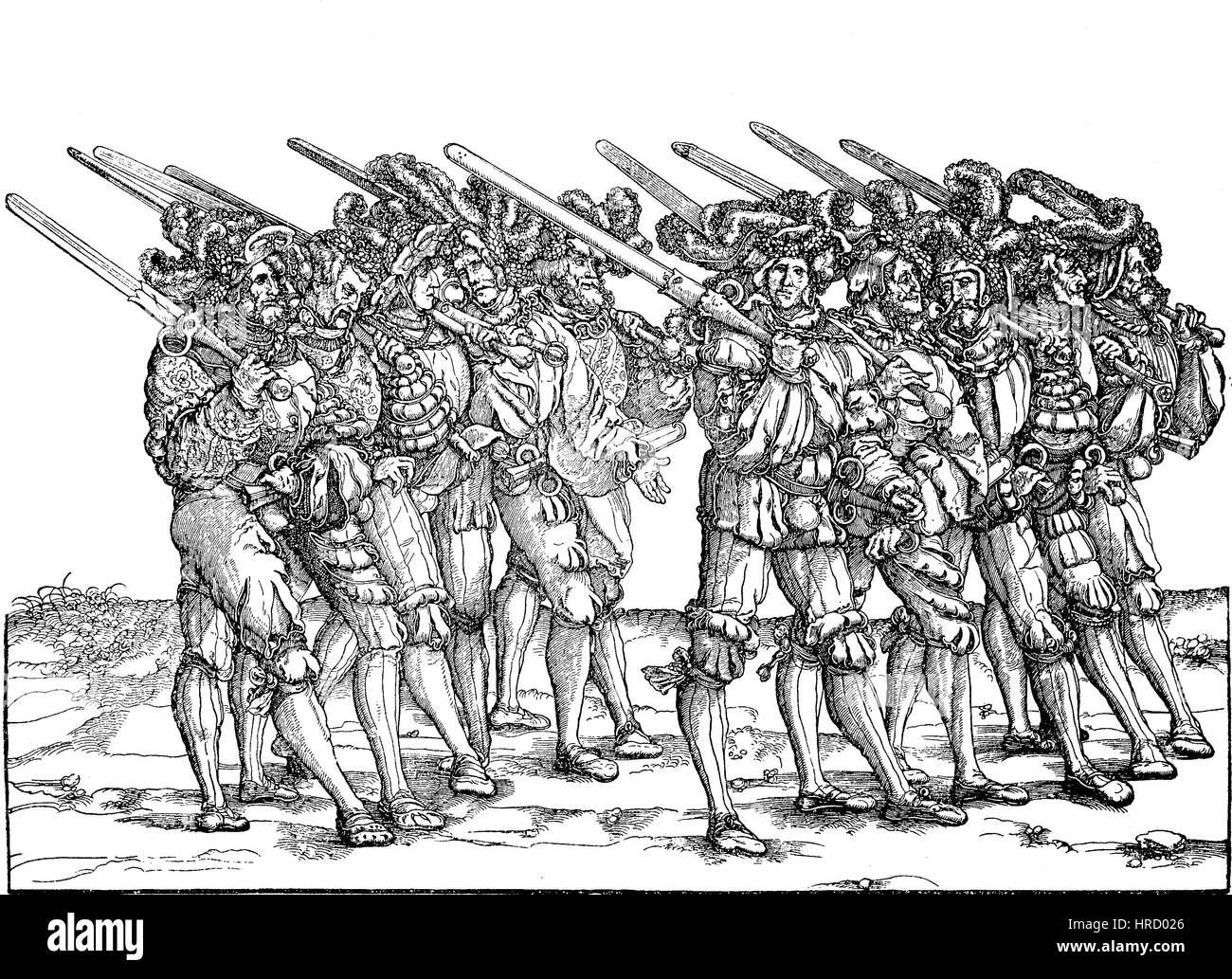 Foot soldiers armed with two-handed riffles and dagger, facsimile of a woodcut in Hans Burgkmair's triumphal - Stock Image