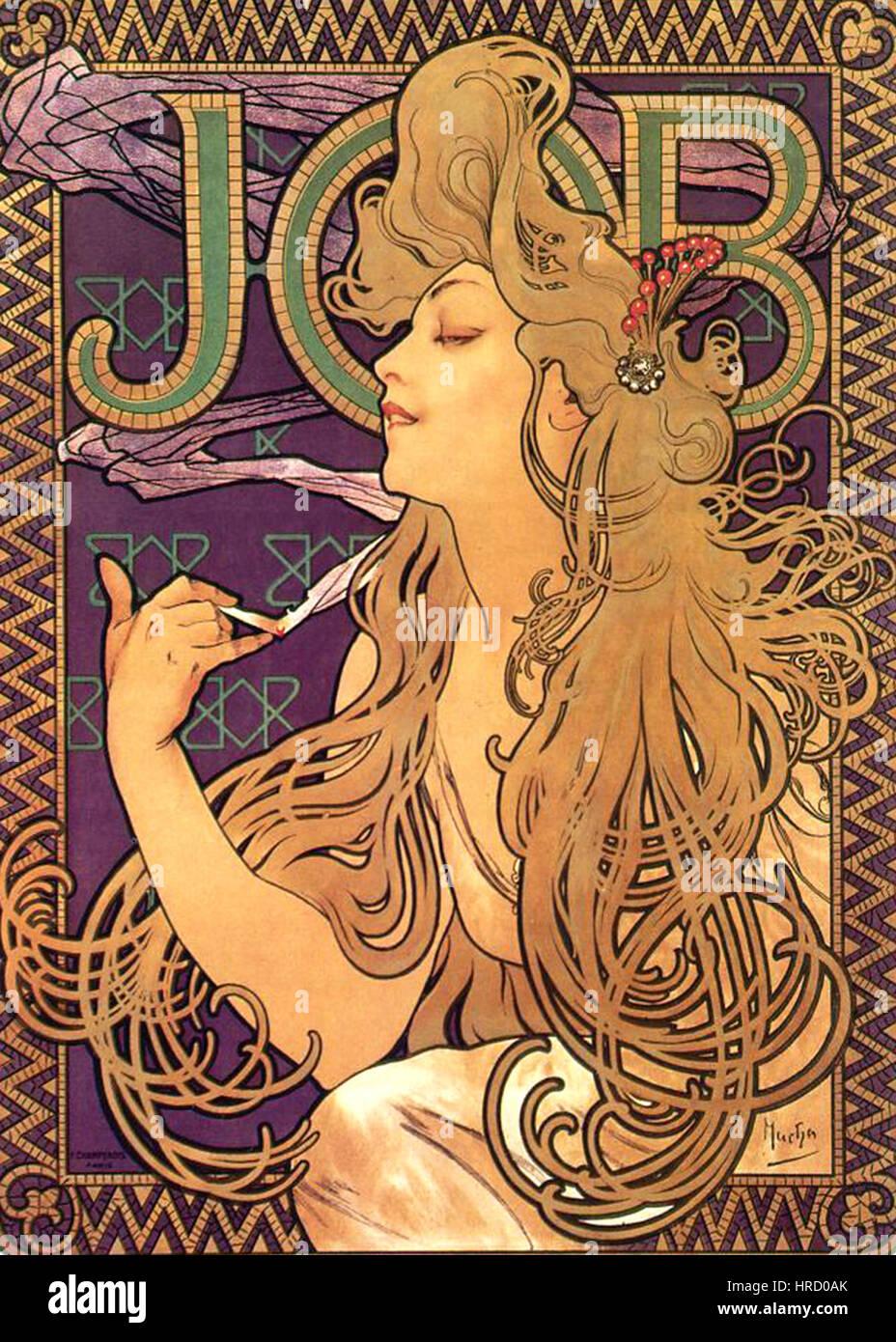 Alphonse Mucha - Job Cigarettes 1 - Stock Image