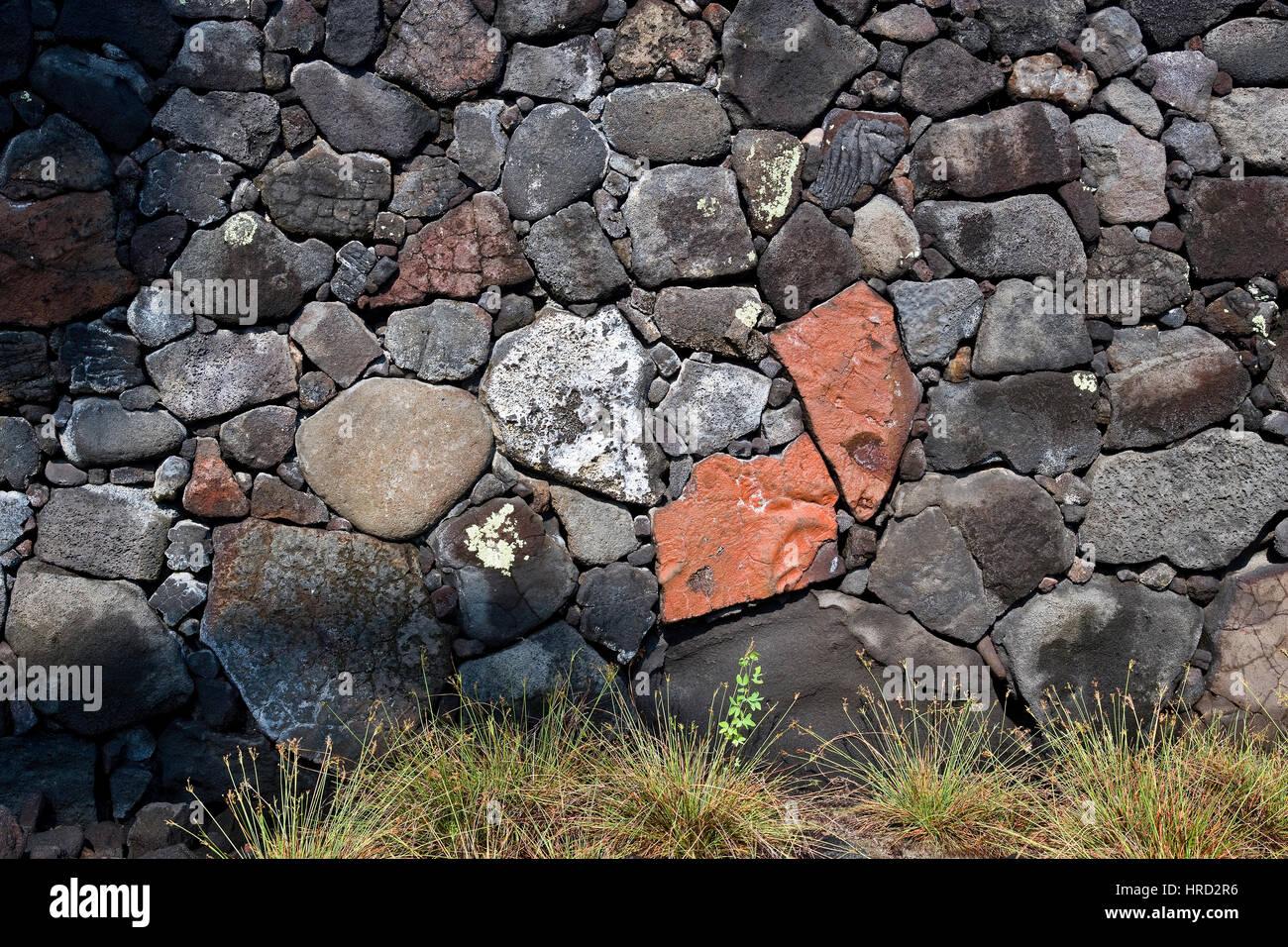 Lava Rocks, Wall, Big Island, Hawaii - Stock Image