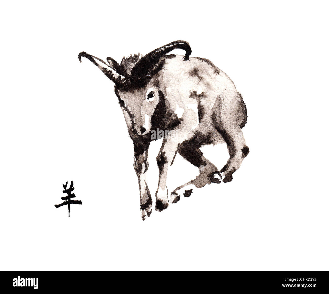Leaping argali ram oriental ink painting with Chinese hieroglyph 'goat'. Symbol of the new year of goat, - Stock Image