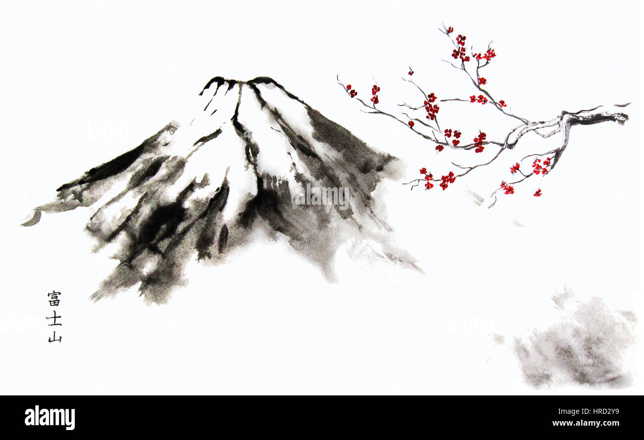 mountain fuji and cherry blossom oriental sumi e painting with stock