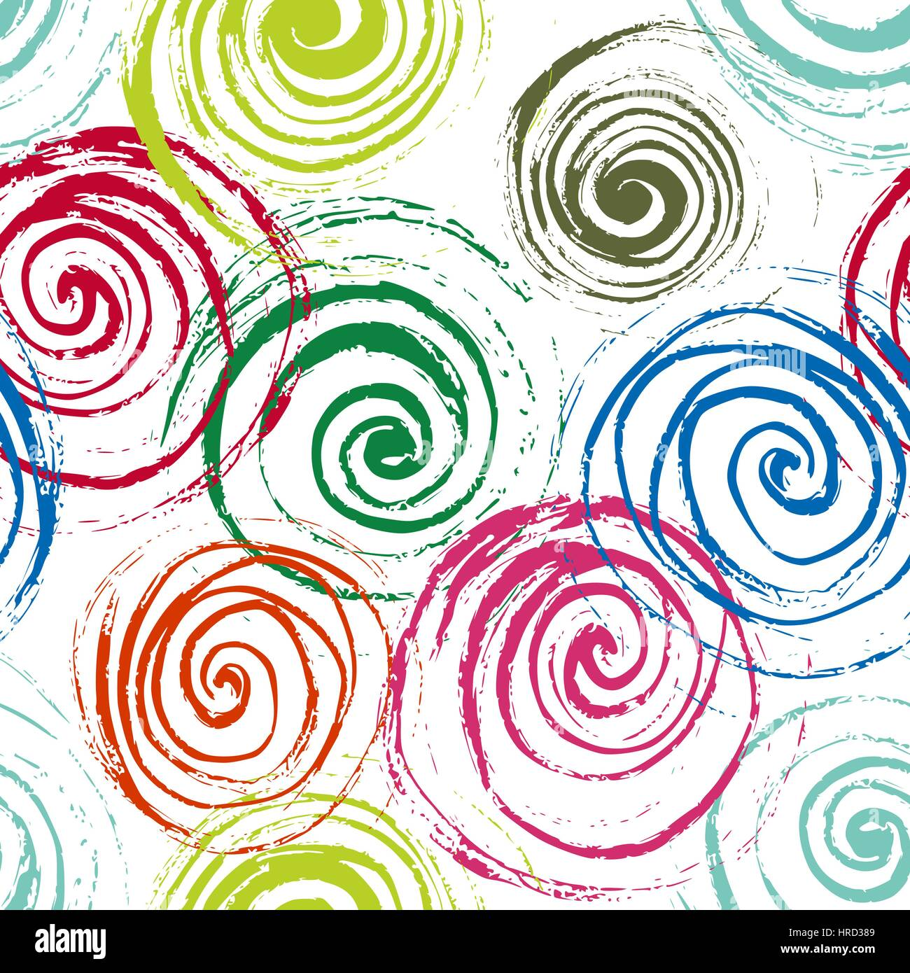 Swirl seamless pattern  Hand drawn spirals, free layout  Colors of