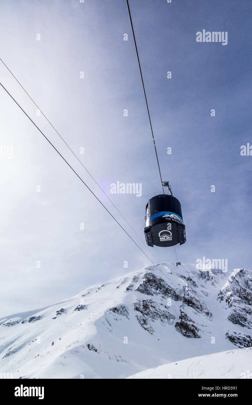 Lone Peak Tram at Big Sky Ski Resort, Montana, USA. - Stock Image