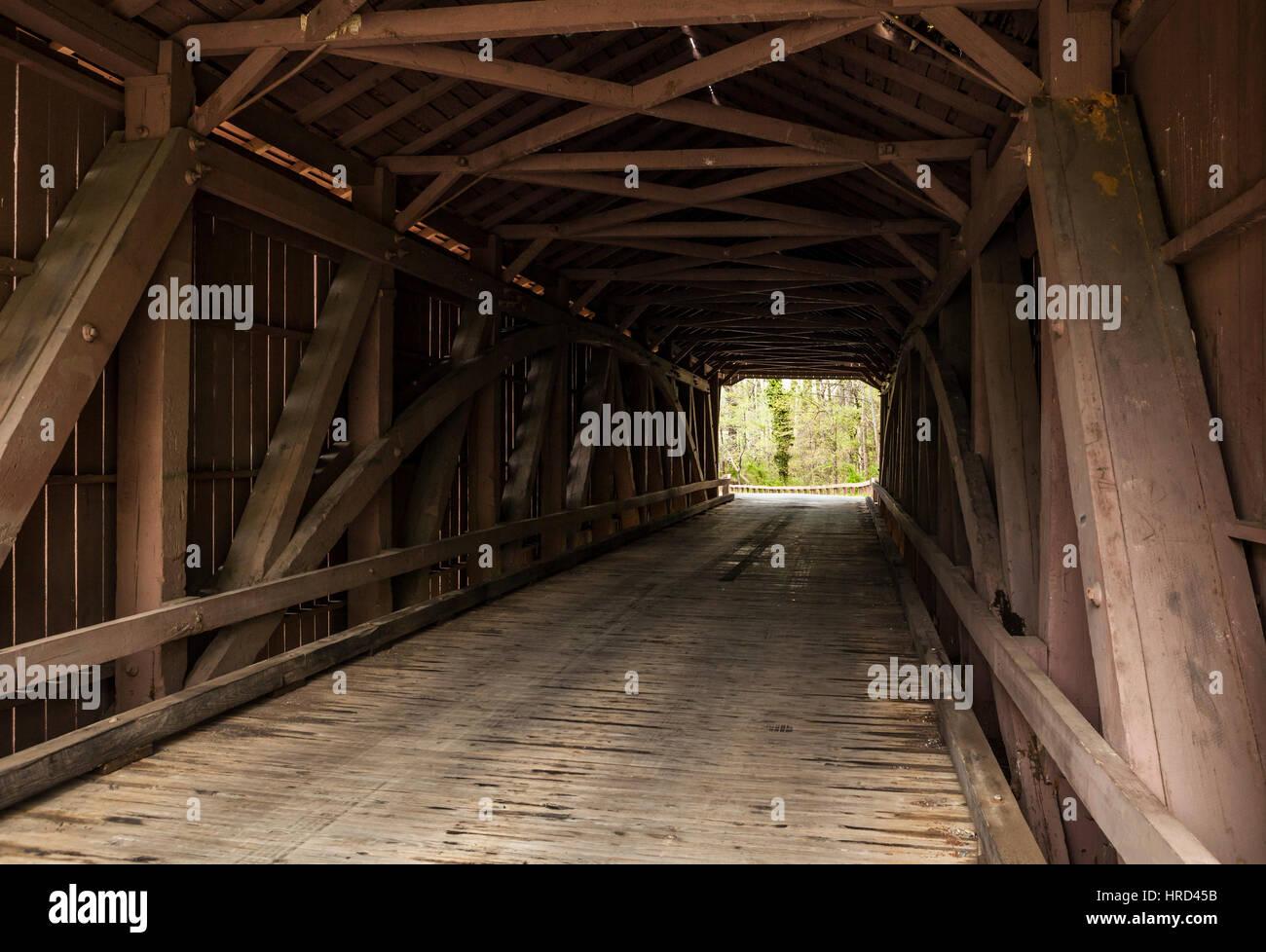 The Jericho covered bridge near Jerusalem in Harford County, Maryland, USA. - Stock Image