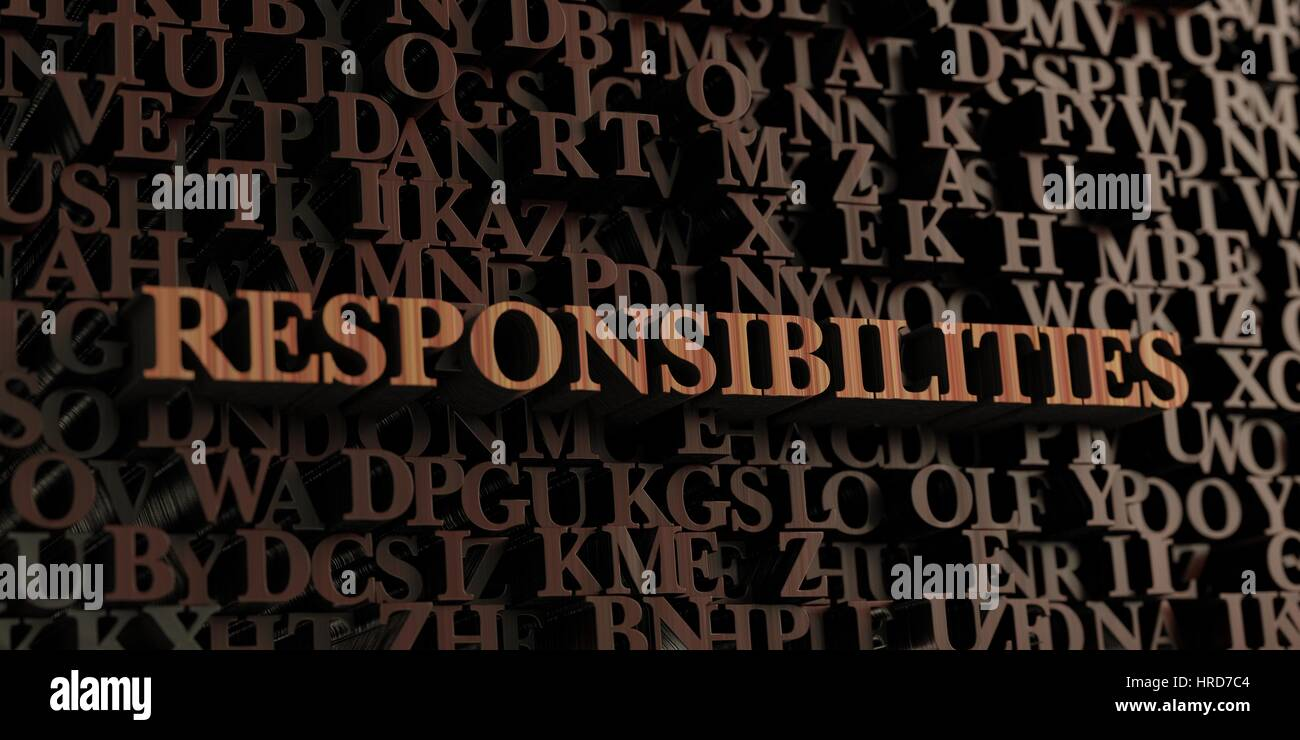 Responsibilities - Wooden 3D rendered letters/message.  Can be used for an online banner ad or a print postcard. - Stock Image