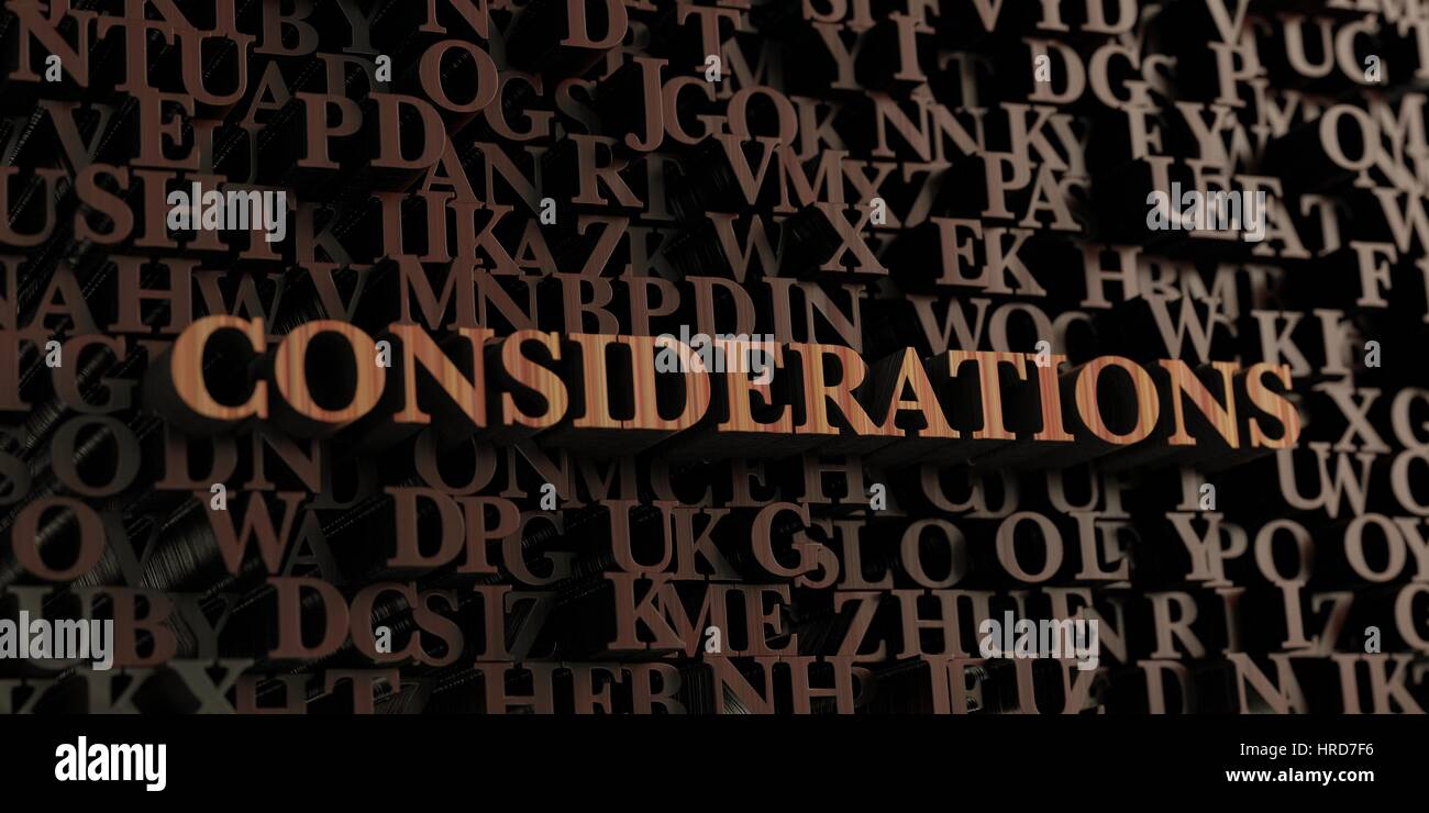 Considerations - Wooden 3D rendered letters/message.  Can be used for an online banner ad or a print postcard. Stock Photo