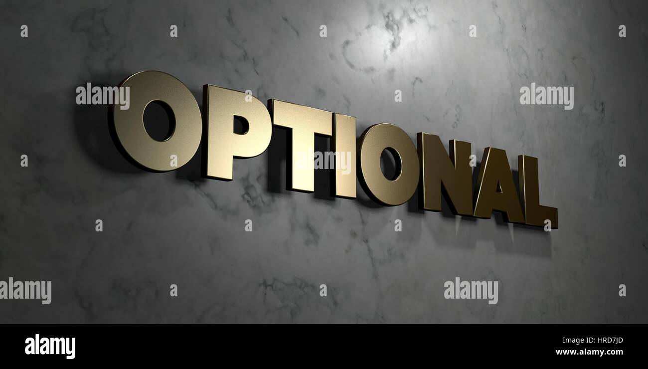 Optional - Gold sign mounted on glossy marble wall  - 3D rendered royalty free stock illustration. This image can - Stock Image