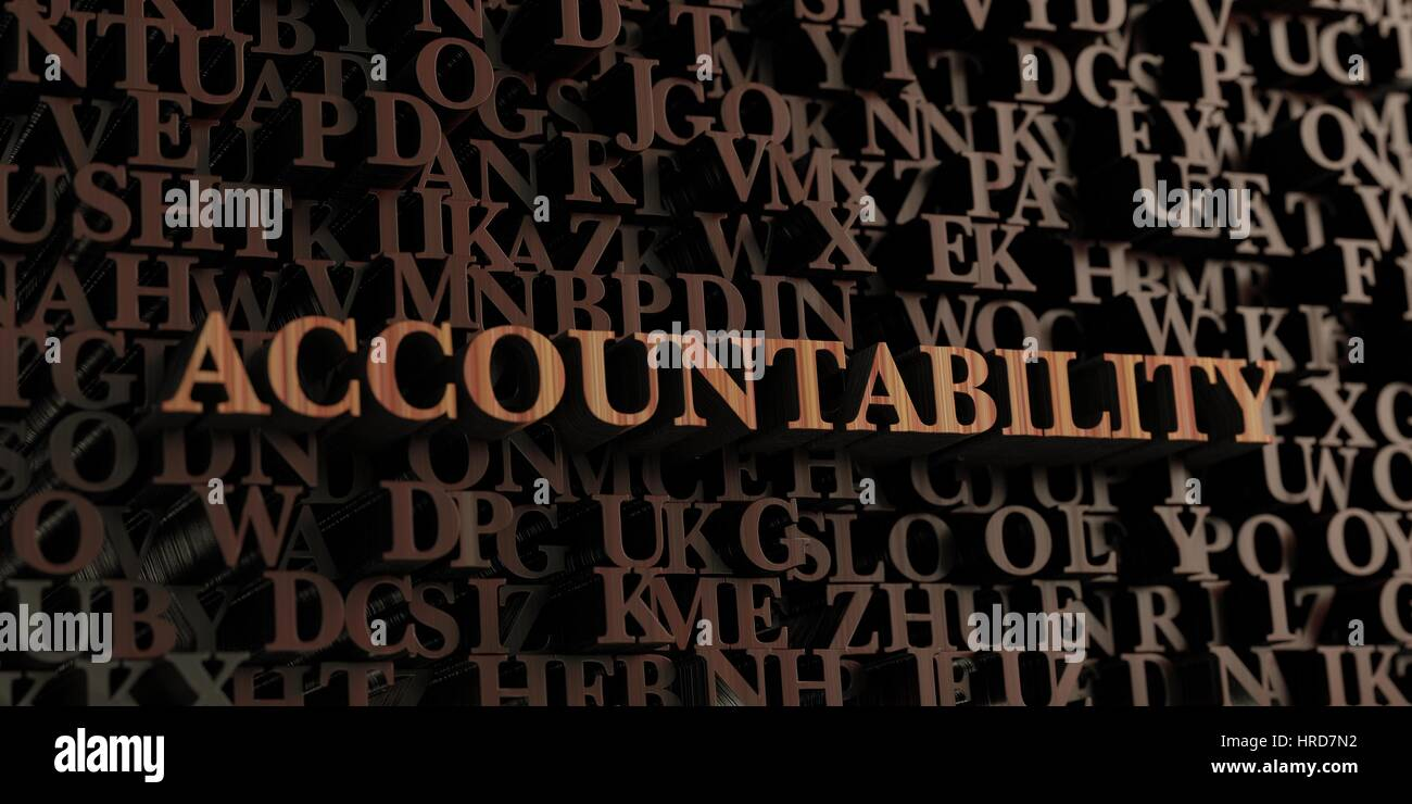 Accountability - Wooden 3D rendered letters/message.  Can be used for an online banner ad or a print postcard. - Stock Image
