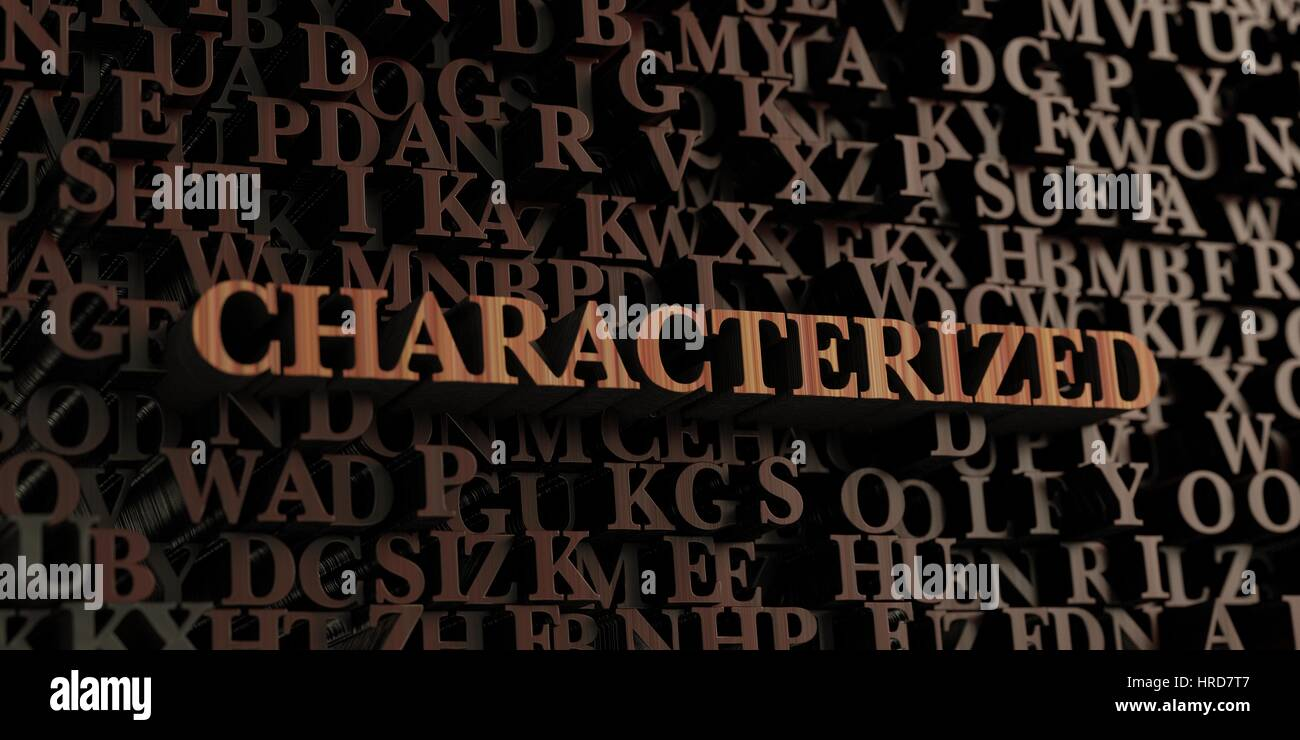 Characterized - Wooden 3D rendered letters/message.  Can be used for an online banner ad or a print postcard. Stock Photo