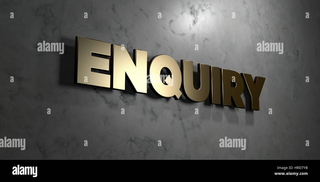 Enquiry - Gold sign mounted on glossy marble wall  - 3D rendered royalty free stock illustration. This image can - Stock Image