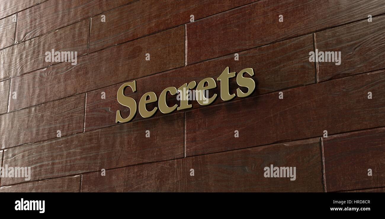 Secrets - Bronze plaque mounted on maple wood wall  - 3D rendered royalty free stock picture. This image can be - Stock Image