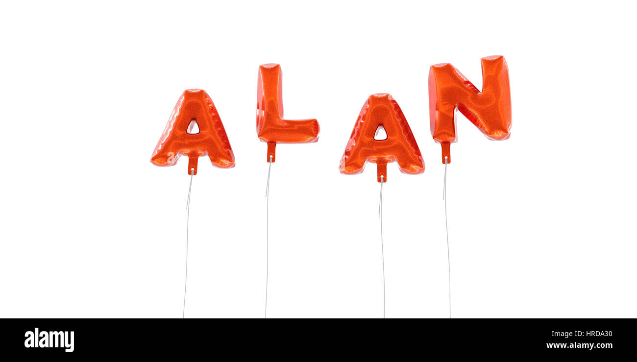 ALAN - word made from red foil balloons - 3D rendered.  Can be used for an online banner ad or a print postcard. - Stock Image