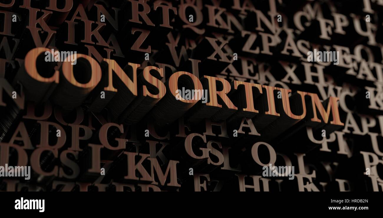 Consortium - Wooden 3D rendered letters/message.  Can be used for an online banner ad or a print postcard. - Stock Image